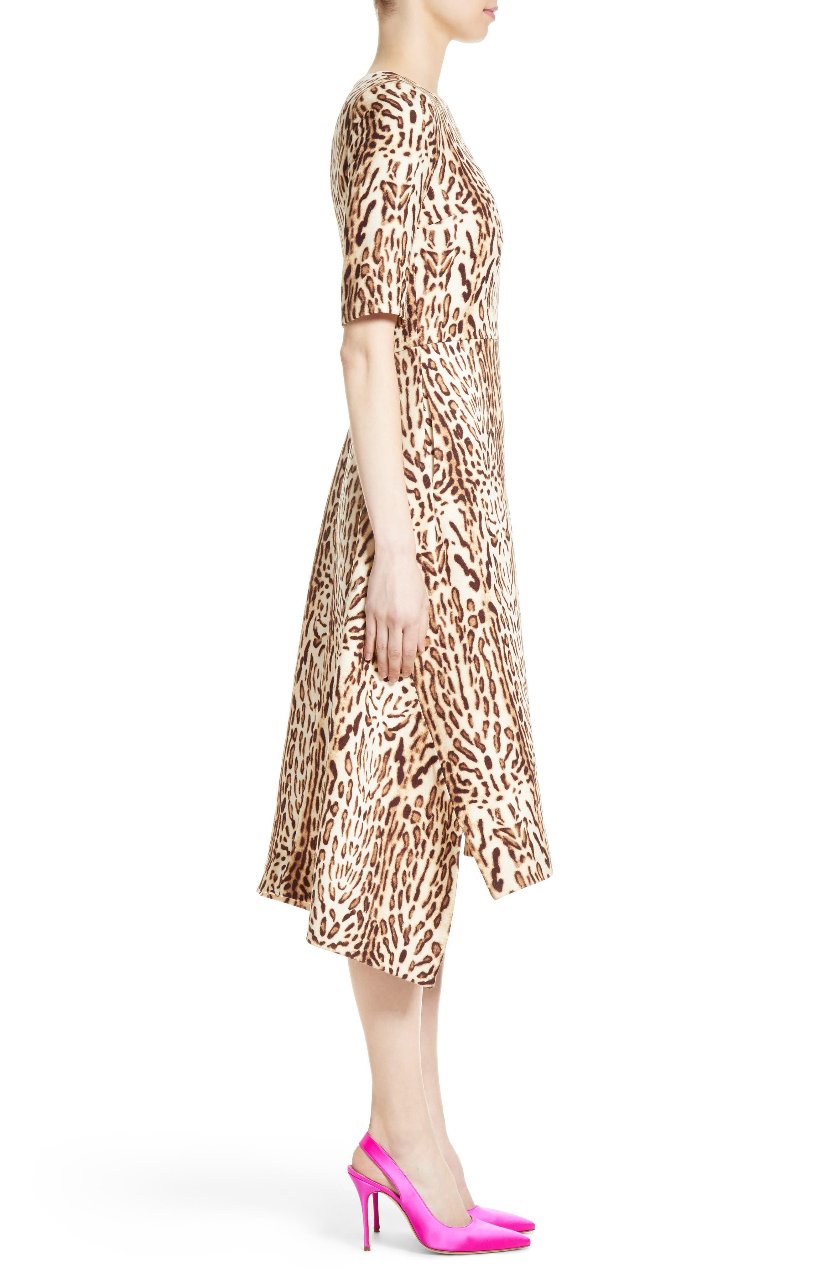 Ocelot Print Wool Midi Dress,                             Alternate thumbnail 3, color,