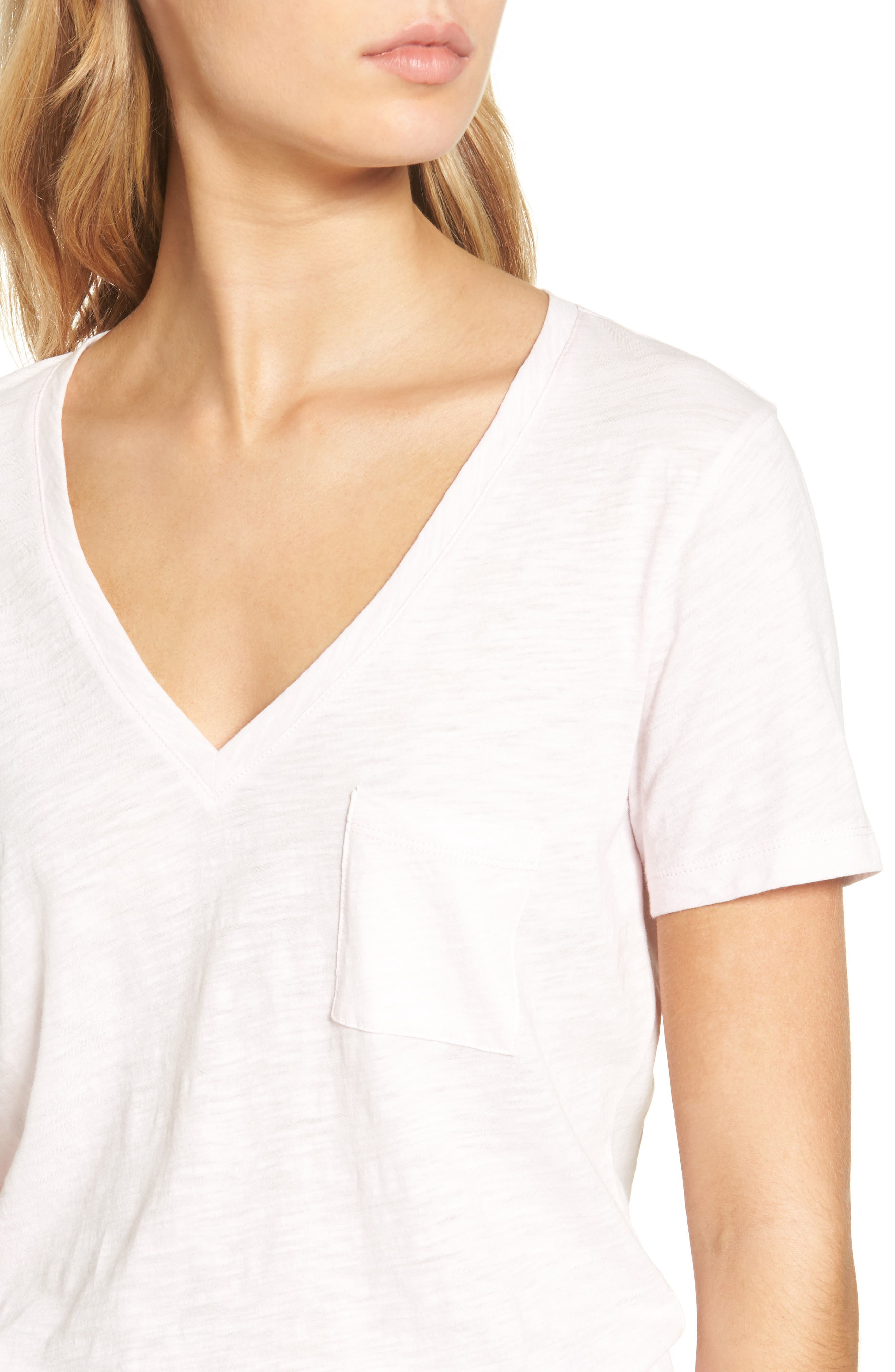 Whisper Cotton V-Neck Pocket Tee,                             Alternate thumbnail 165, color,