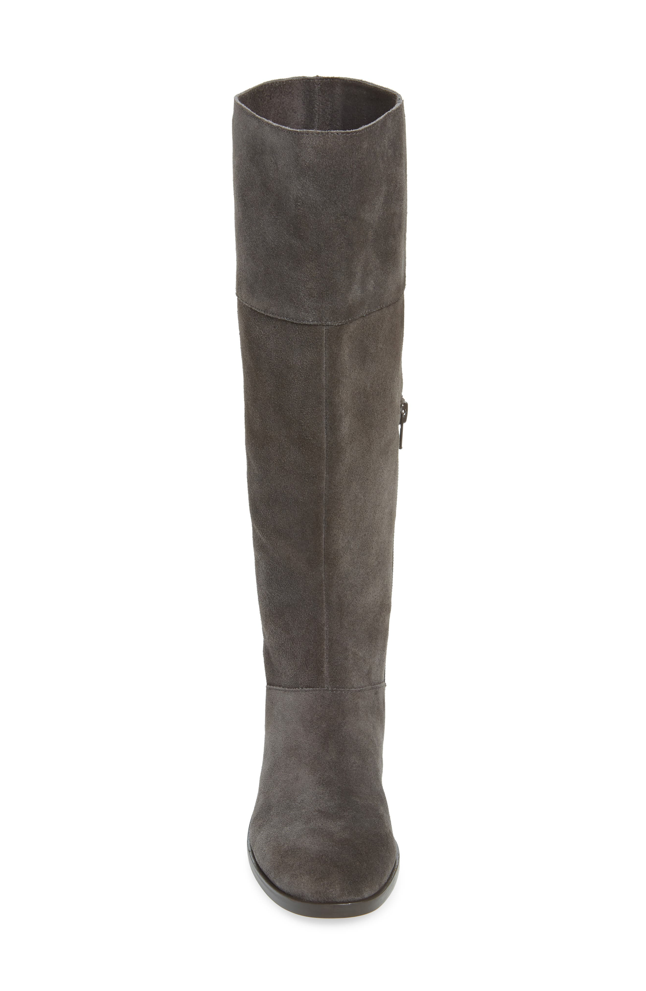 Carlie Knee High Boot,                             Alternate thumbnail 4, color,                             IRON SUEDE