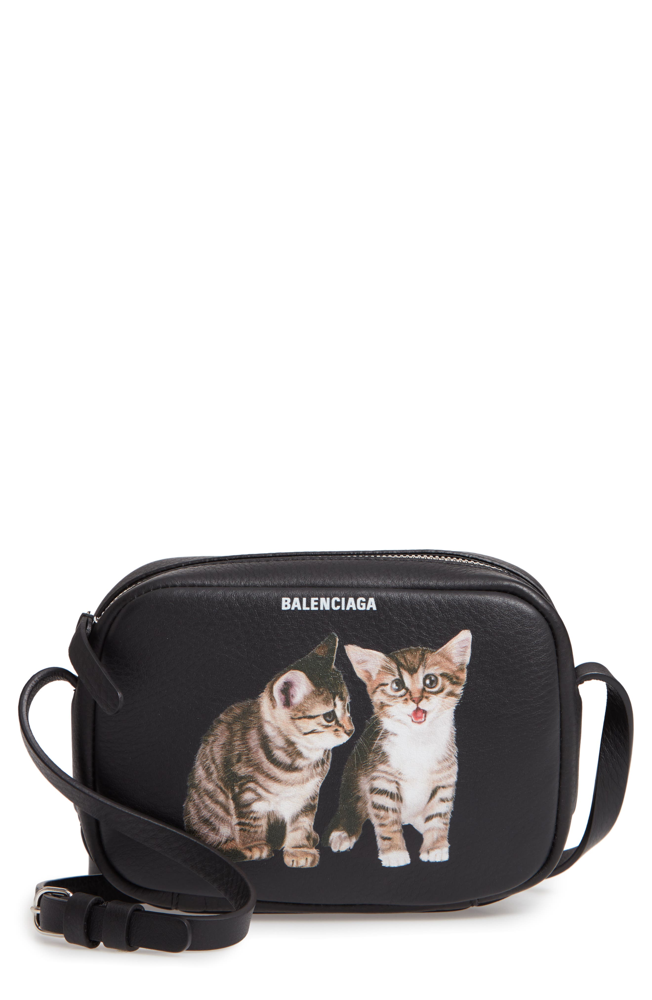Extra Small Kittens Calfskin Leather Camera Bag,                             Main thumbnail 1, color,                             NOIR/ BLANC