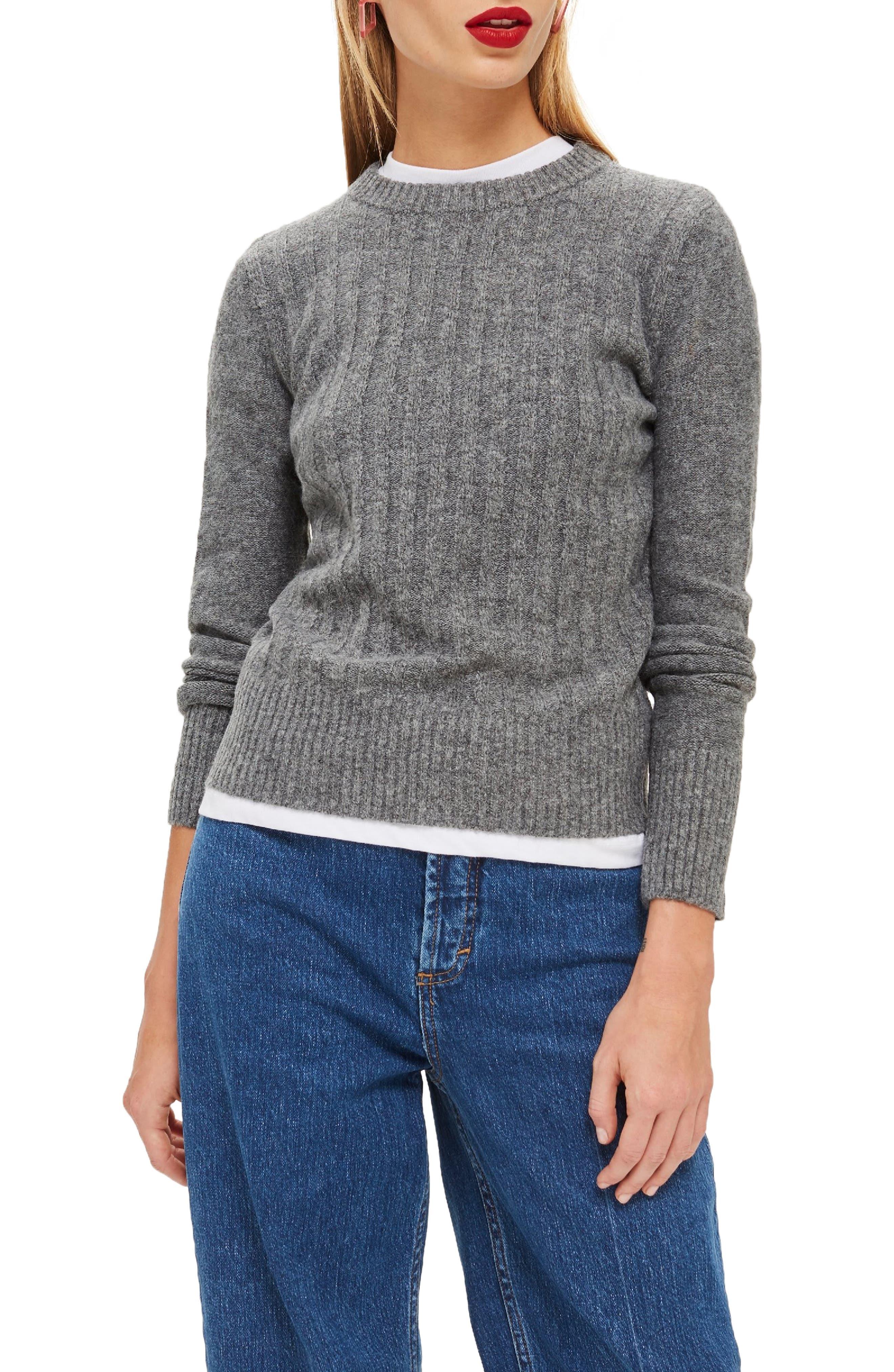 Rib Sweater,                             Main thumbnail 1, color,                             CHARCOAL