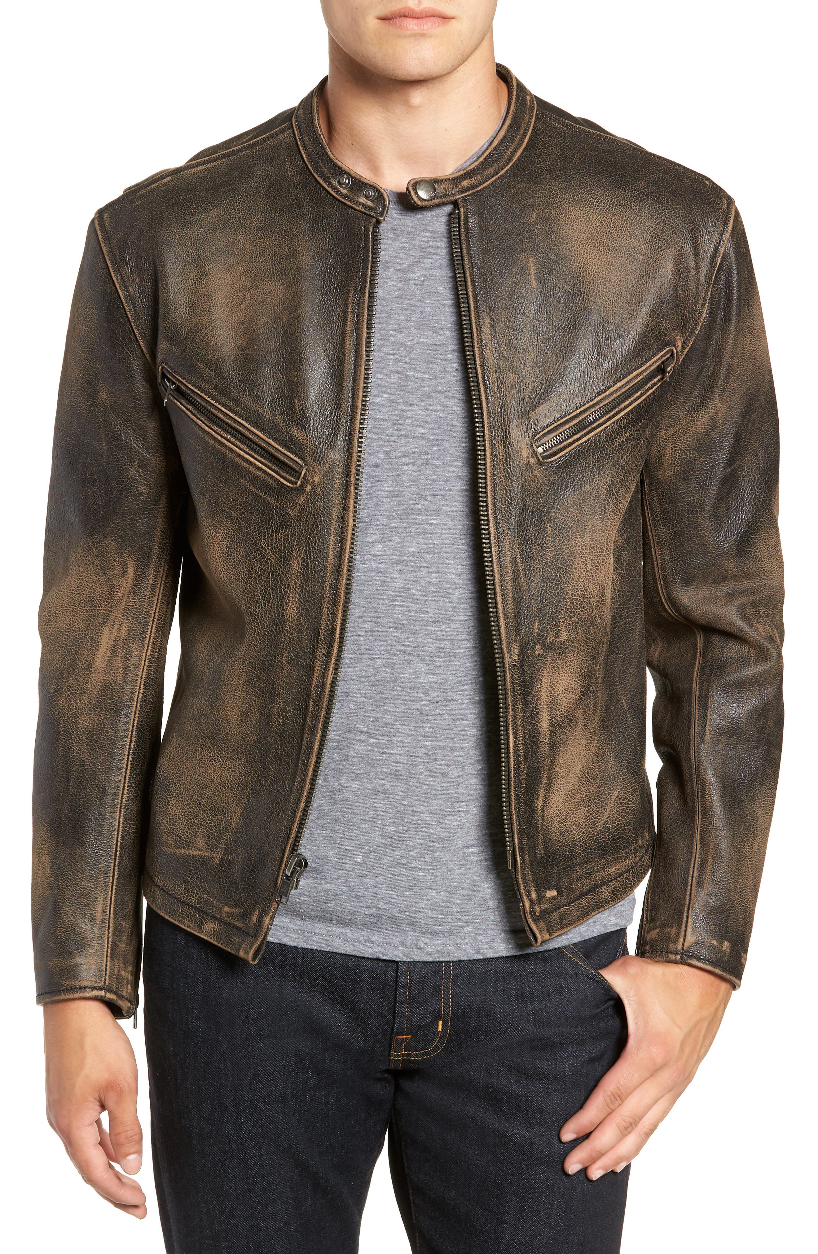 Calfskin Leather Racer Jacket,                             Main thumbnail 1, color,                             001