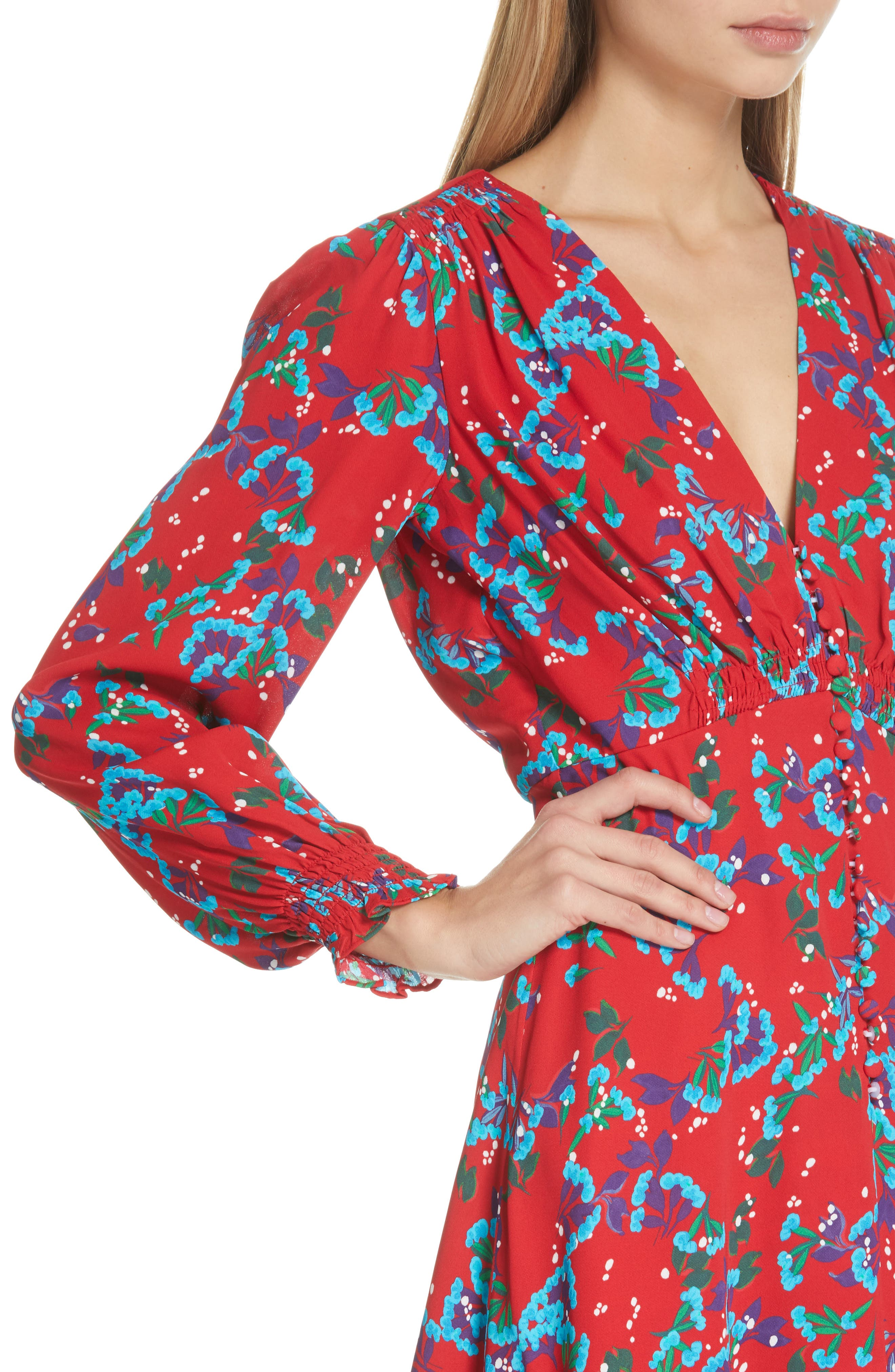 Eve Floral Print Dress,                             Alternate thumbnail 4, color,                             SCARLET SWEETPEAS