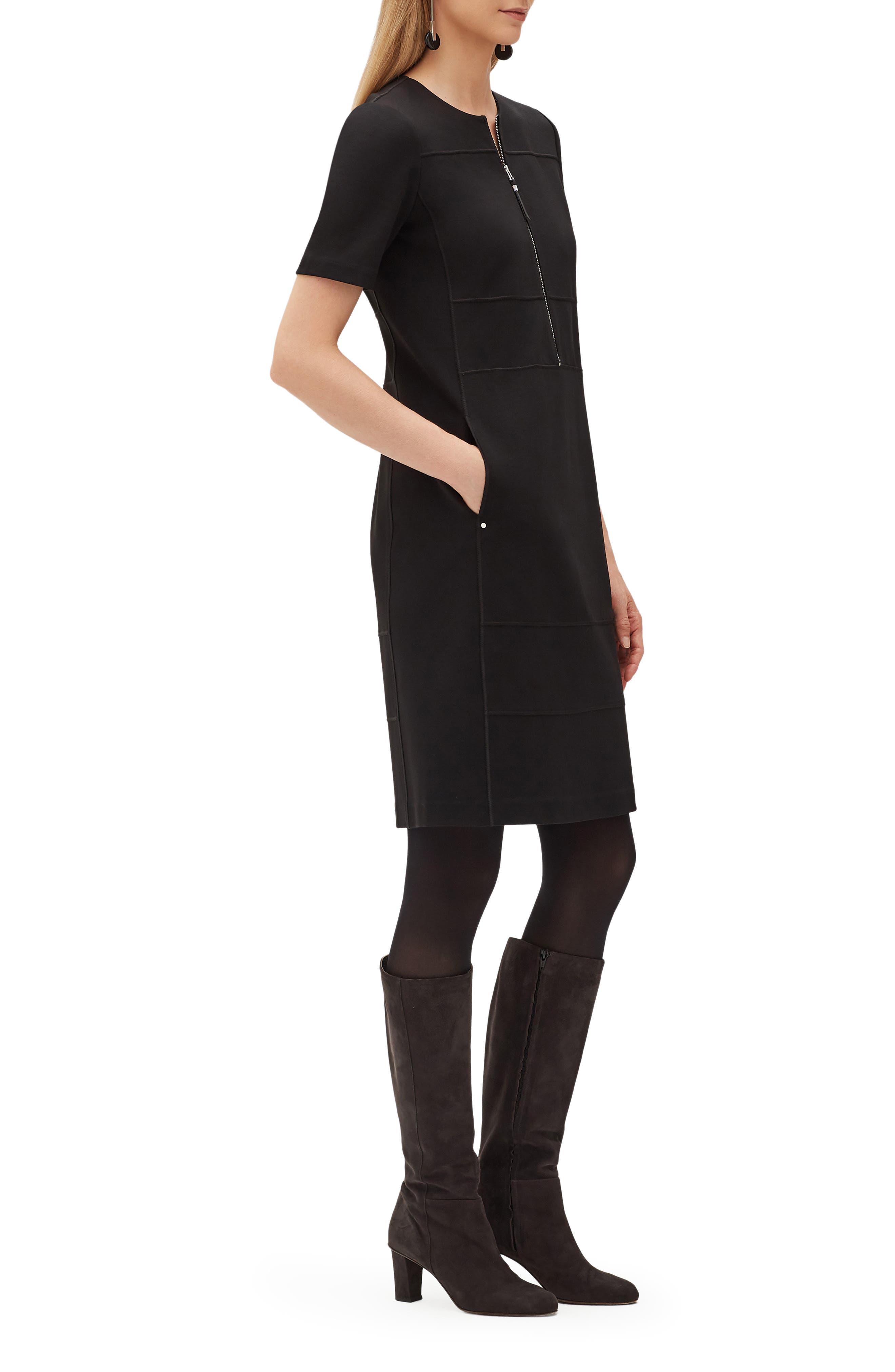 Demi Zip Front Dress,                             Alternate thumbnail 3, color,                             001