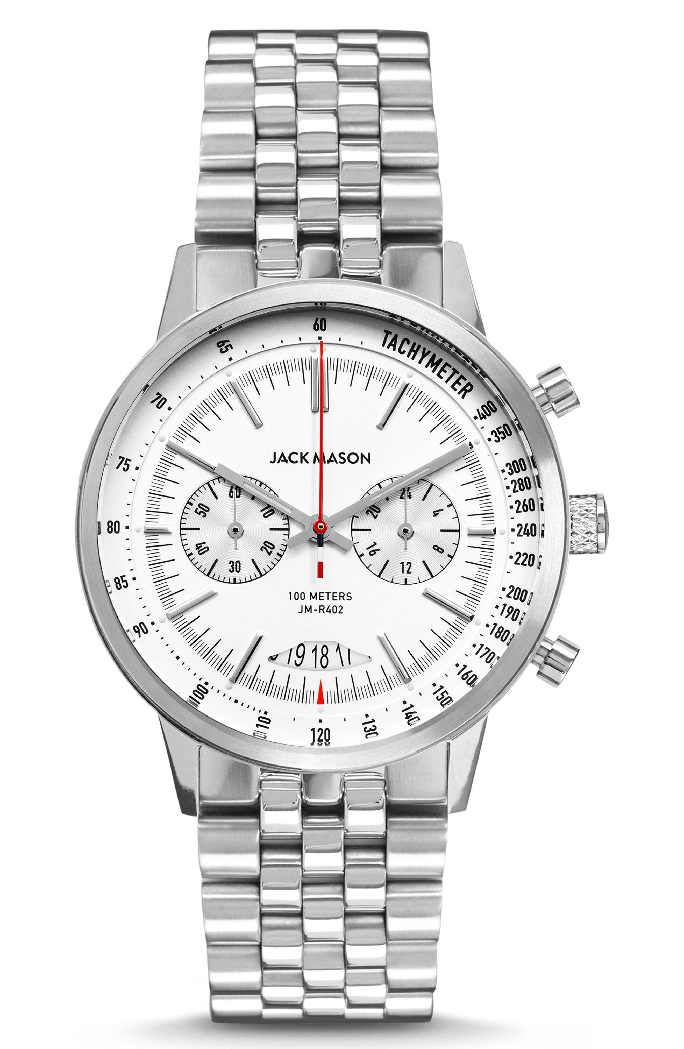 JACK MASON Racing Chronograph Bracelet Watch, 40mm, Main, color, WHITE/ SILVER