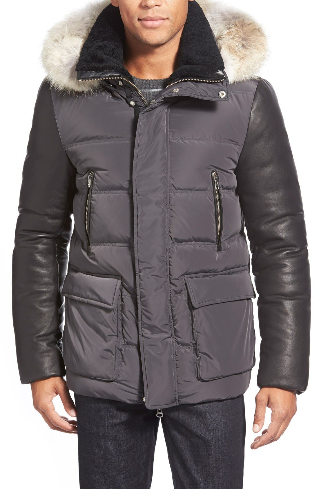 Leather Sleeve Hooded Down Jacket with Genuine Coyote Fur & Genuine Shearling Trim,                         Main,                         color, 085