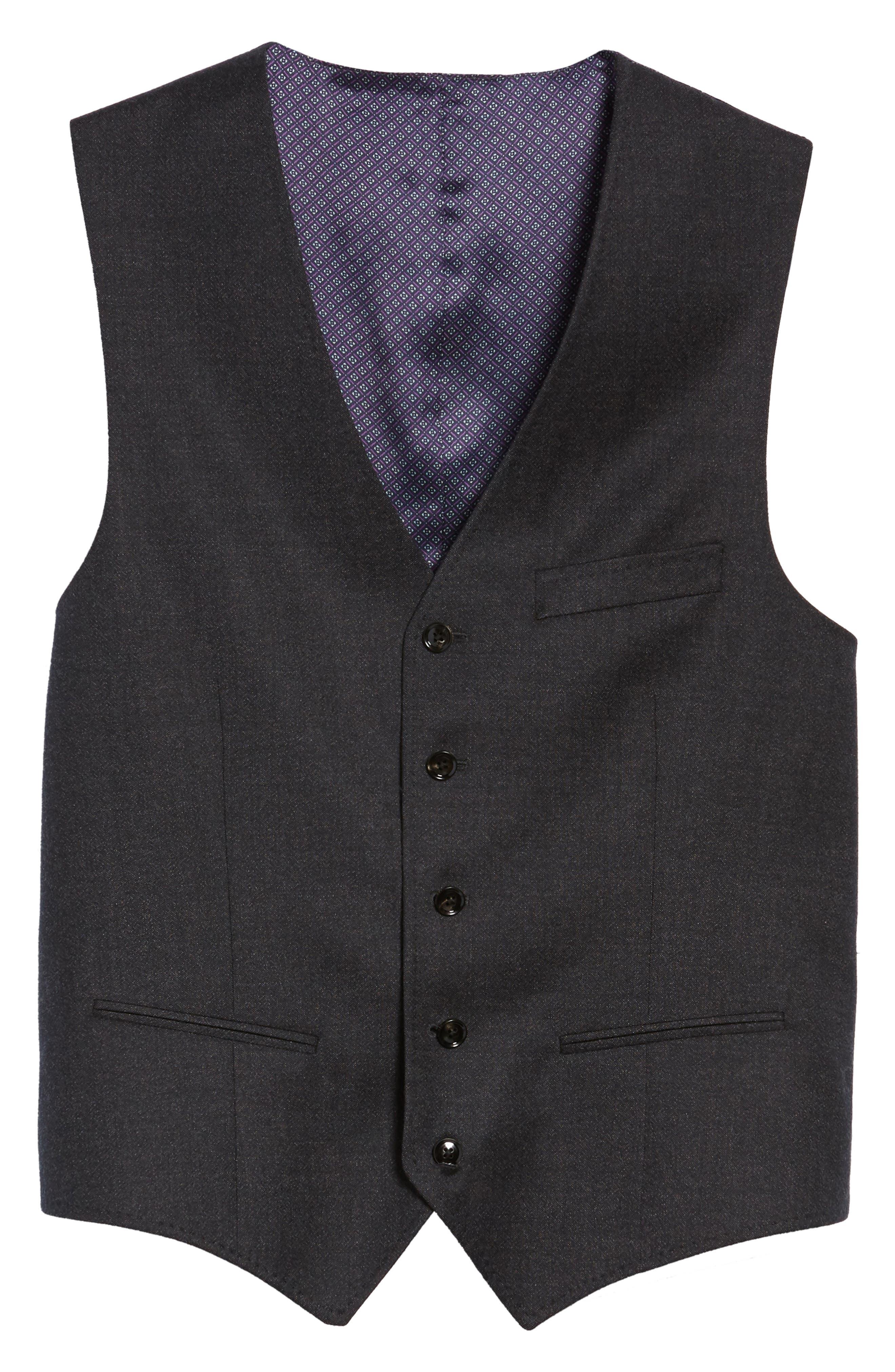 Troy Trim Fit Solid Wool Vest,                             Alternate thumbnail 5, color,                             502