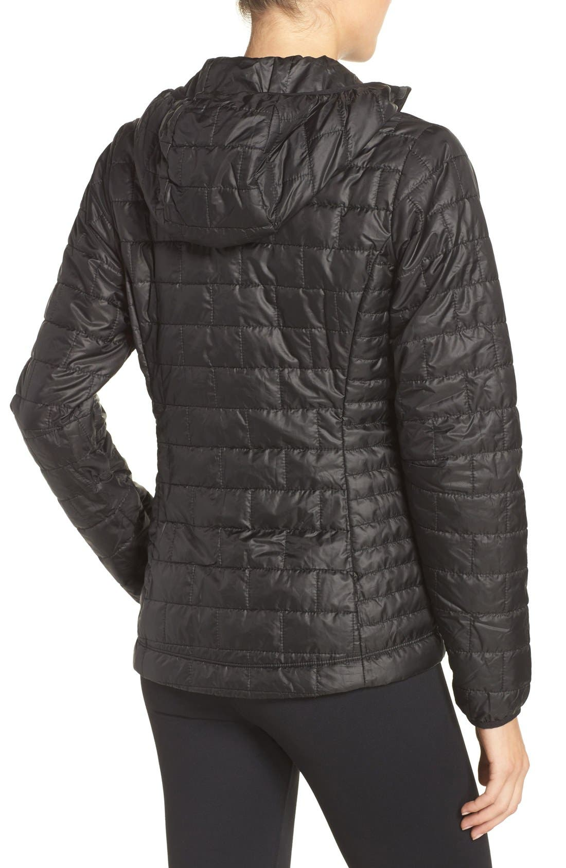 Nano Puff<sup>®</sup> Hooded Water Resistant Jacket,                             Alternate thumbnail 3, color,                             BLACK