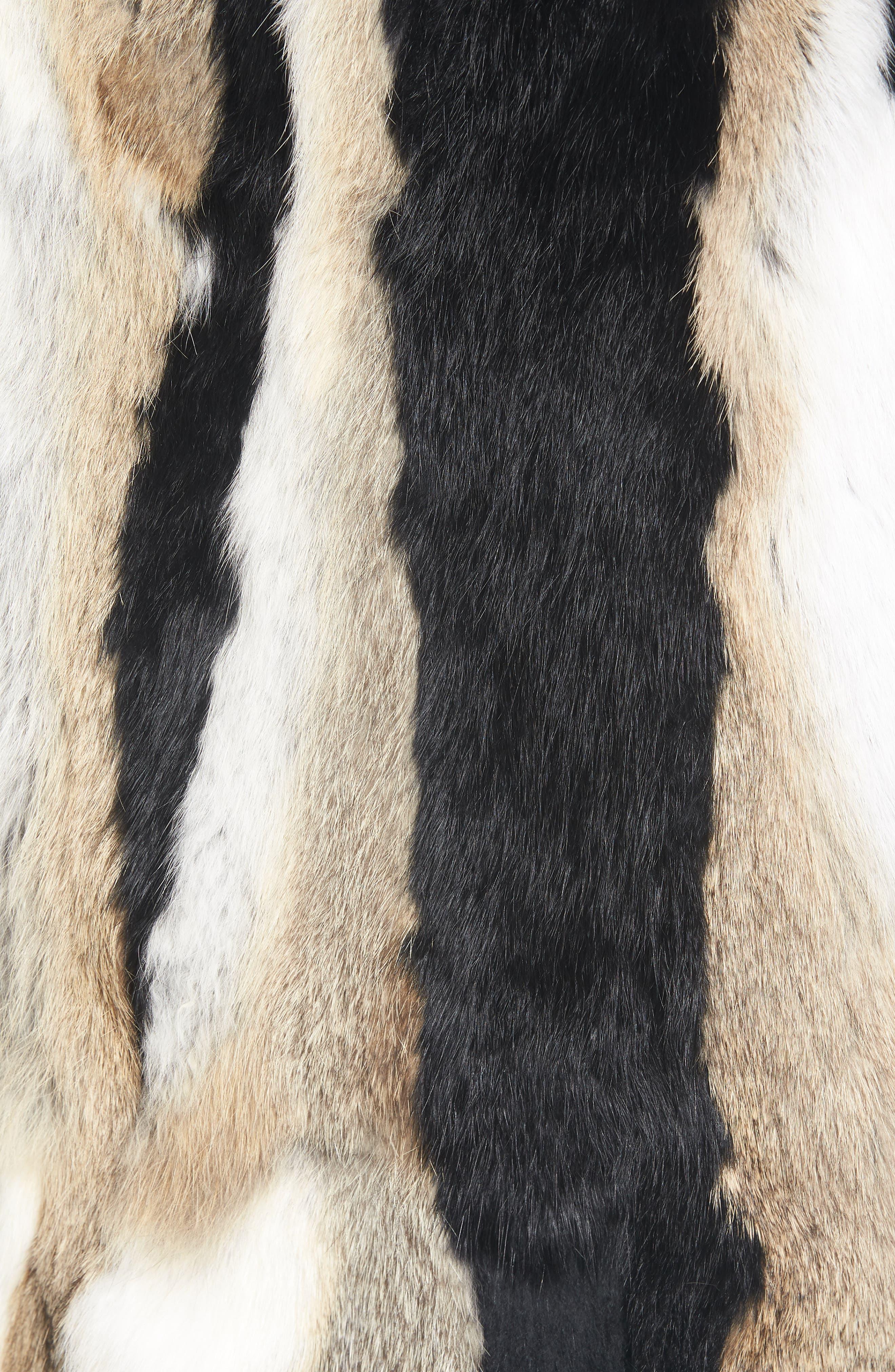 Genuine Rabbit Fur Hooded Vest,                             Alternate thumbnail 6, color,                             BROWN COMBO