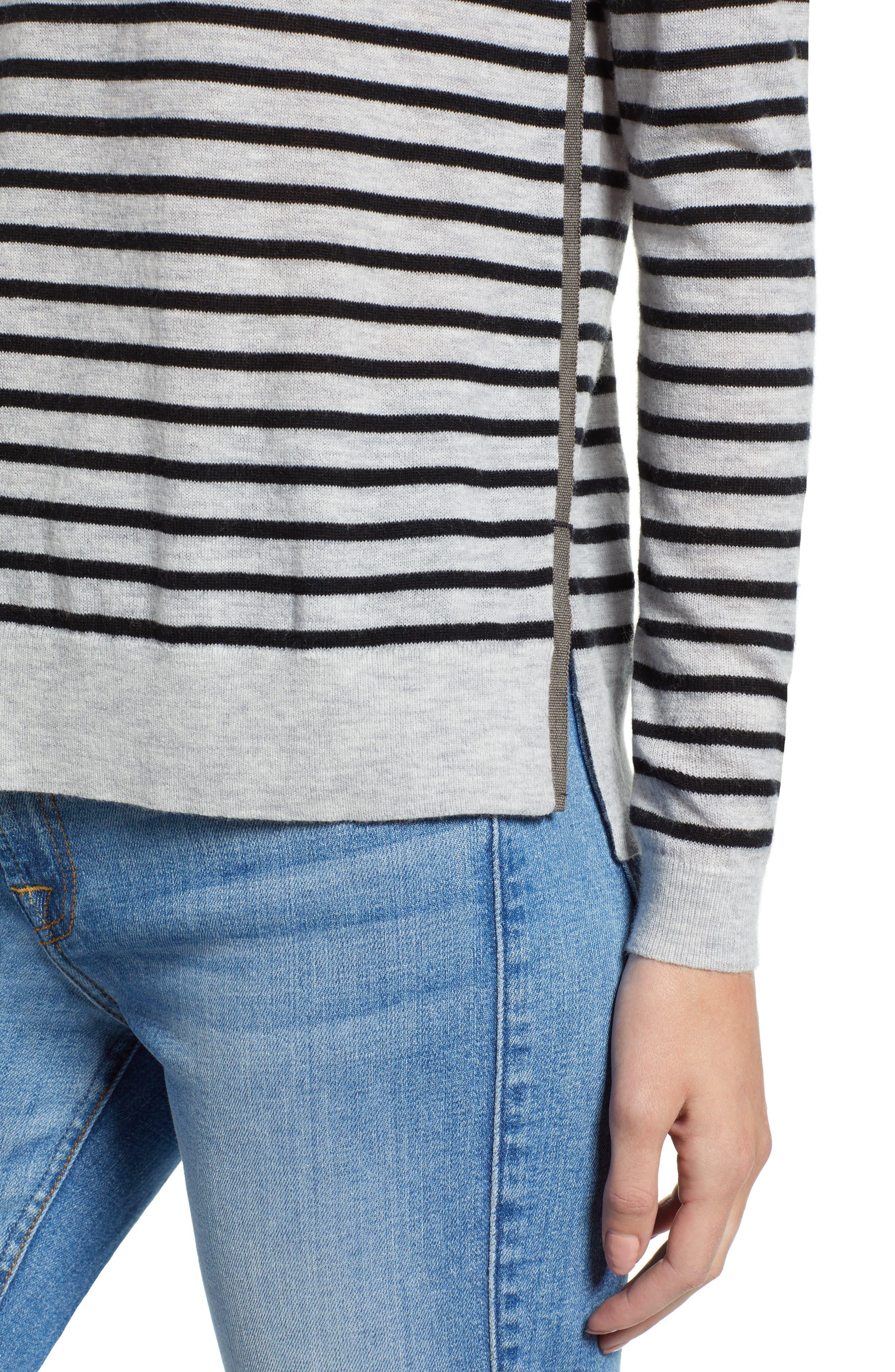 Stripe Zip Back Crewneck Sweater,                             Alternate thumbnail 4, color,                             059