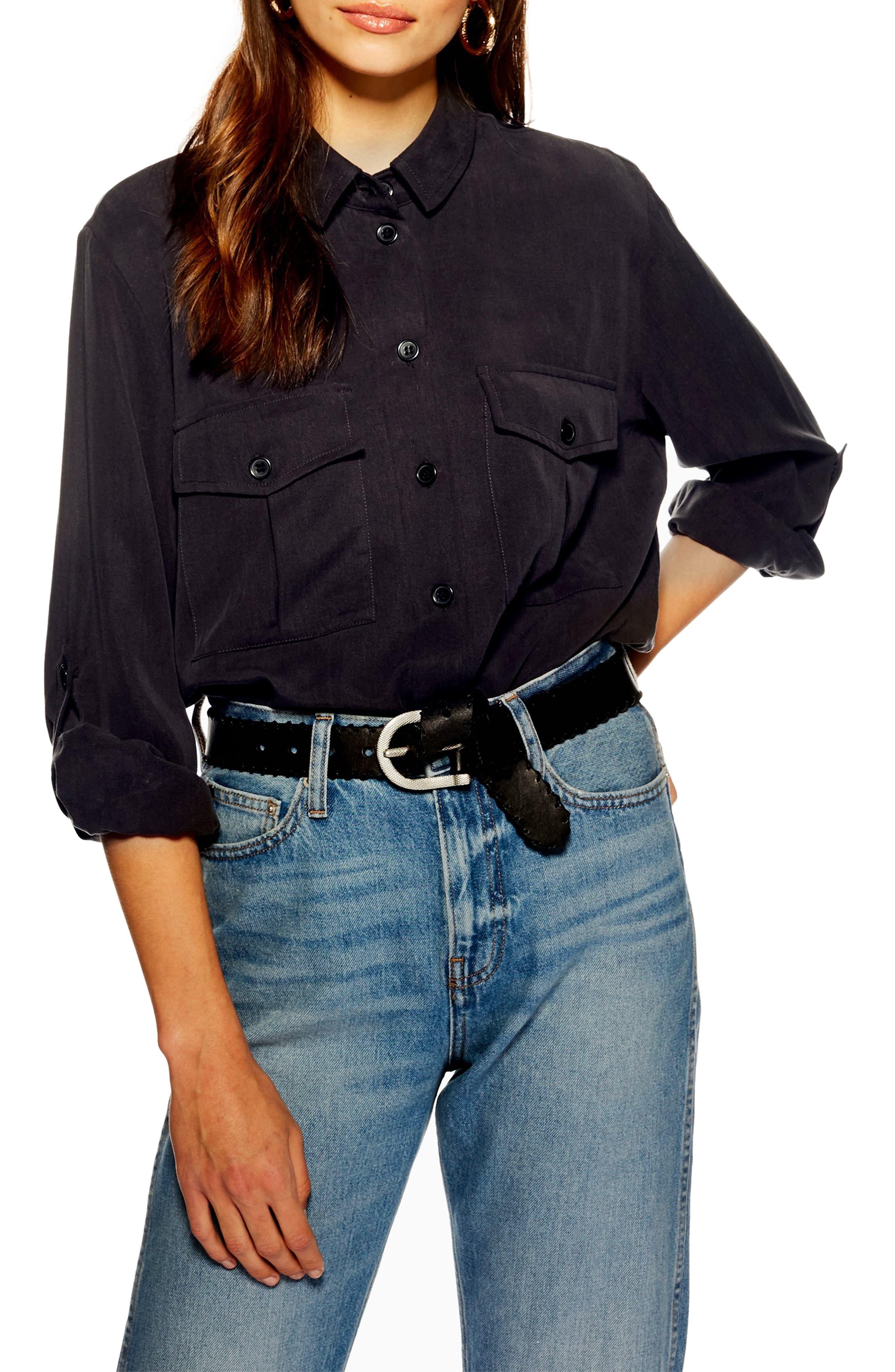 TOPSHOP Double Pocket Utility Shirt, Main, color, WASHED BLACK