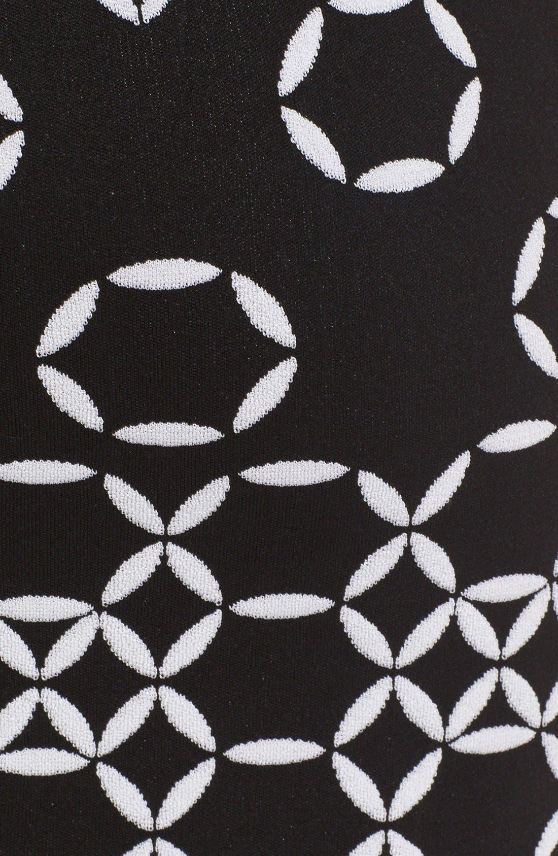 Graphic Knit Sheath Dress,                             Alternate thumbnail 4, color,                             001