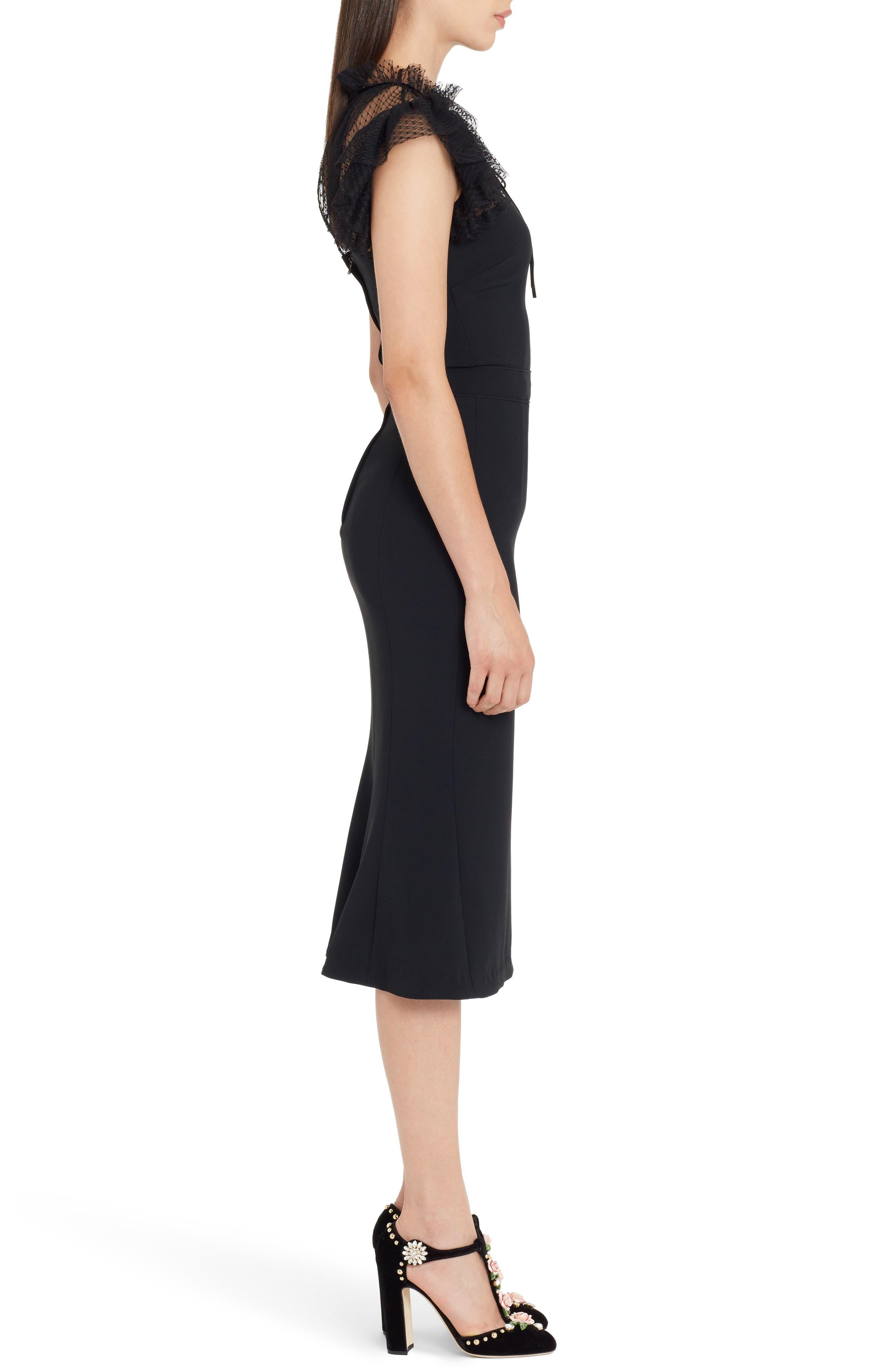 Mesh Yoke Stretch Cady Sheath Dress,                             Alternate thumbnail 3, color,                             BLACK