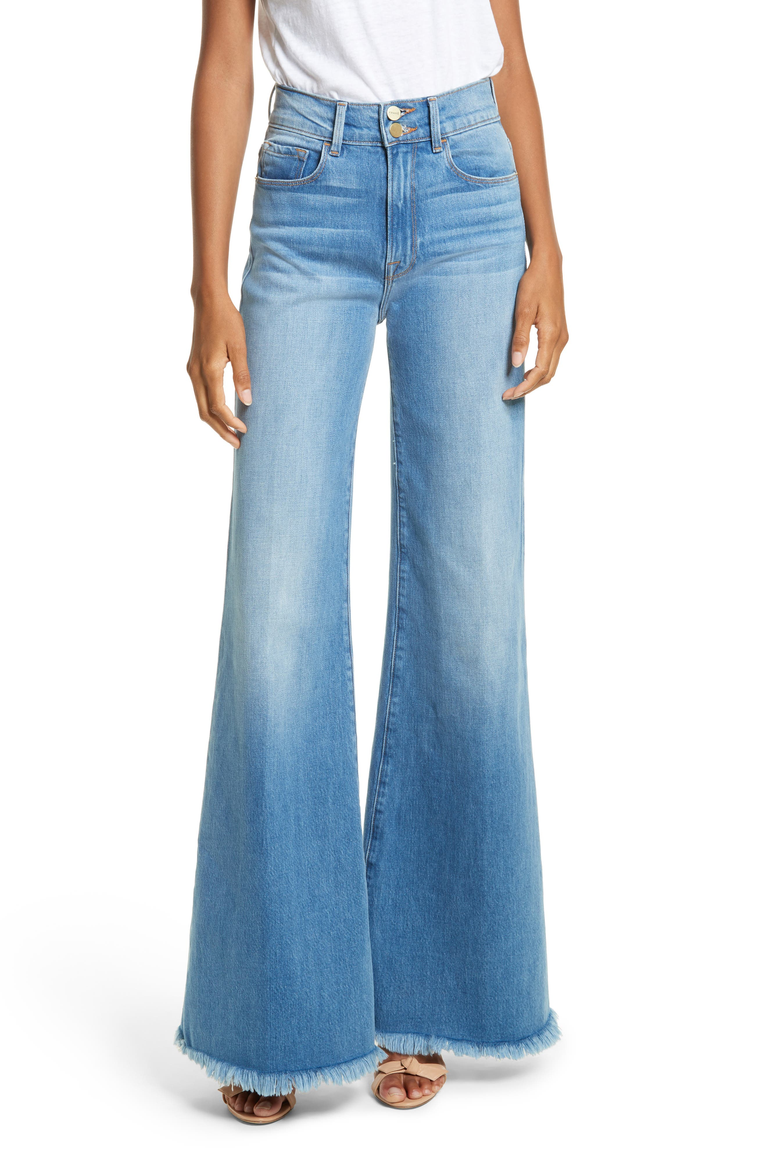 Le Palazzo High Waist Raw Edge Jeans,                             Main thumbnail 1, color,