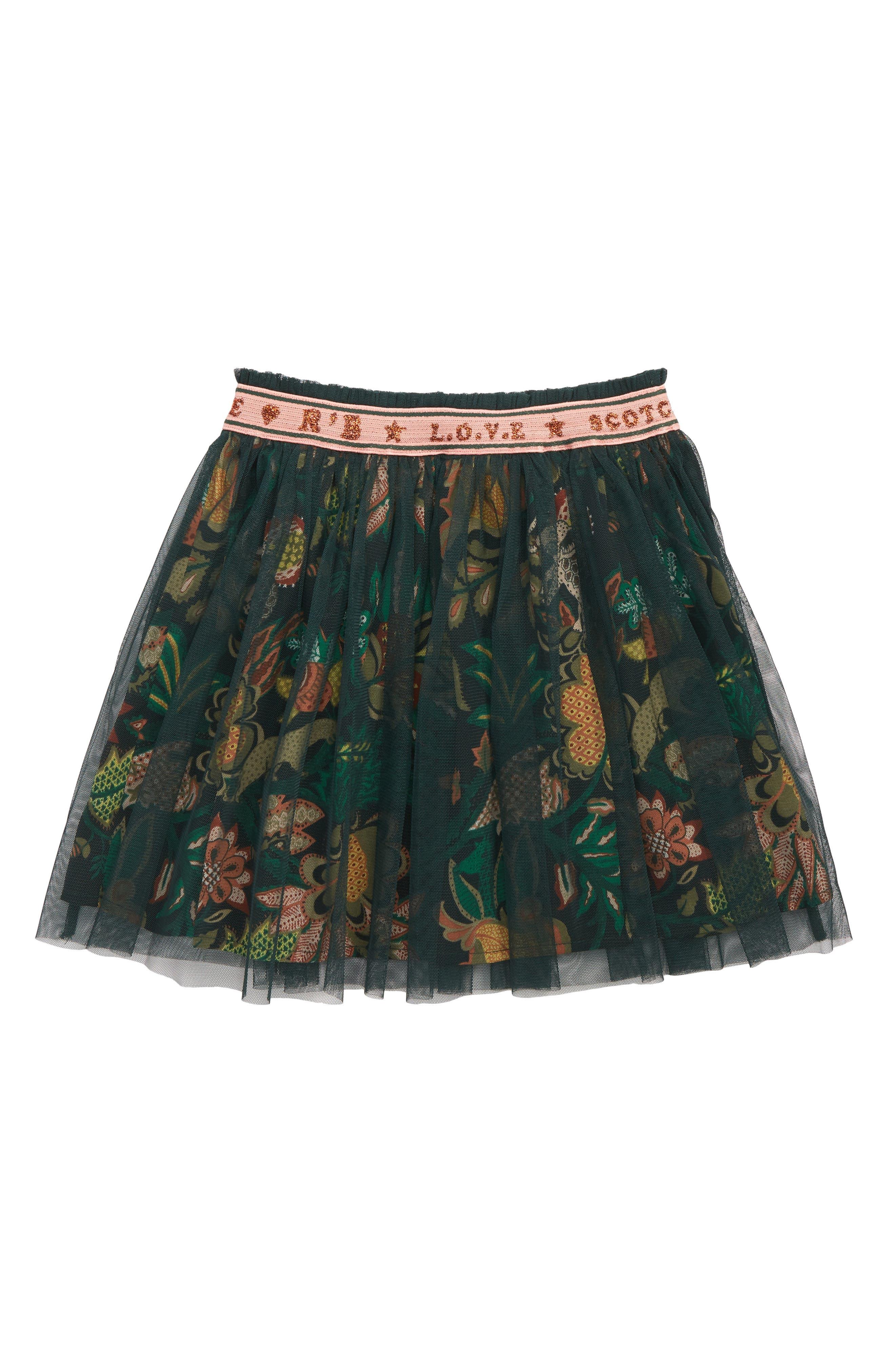 Scotch R'Belle Mesh Tutu Skirt,                             Main thumbnail 1, color,                             BLACK AND GREEN FLORAL