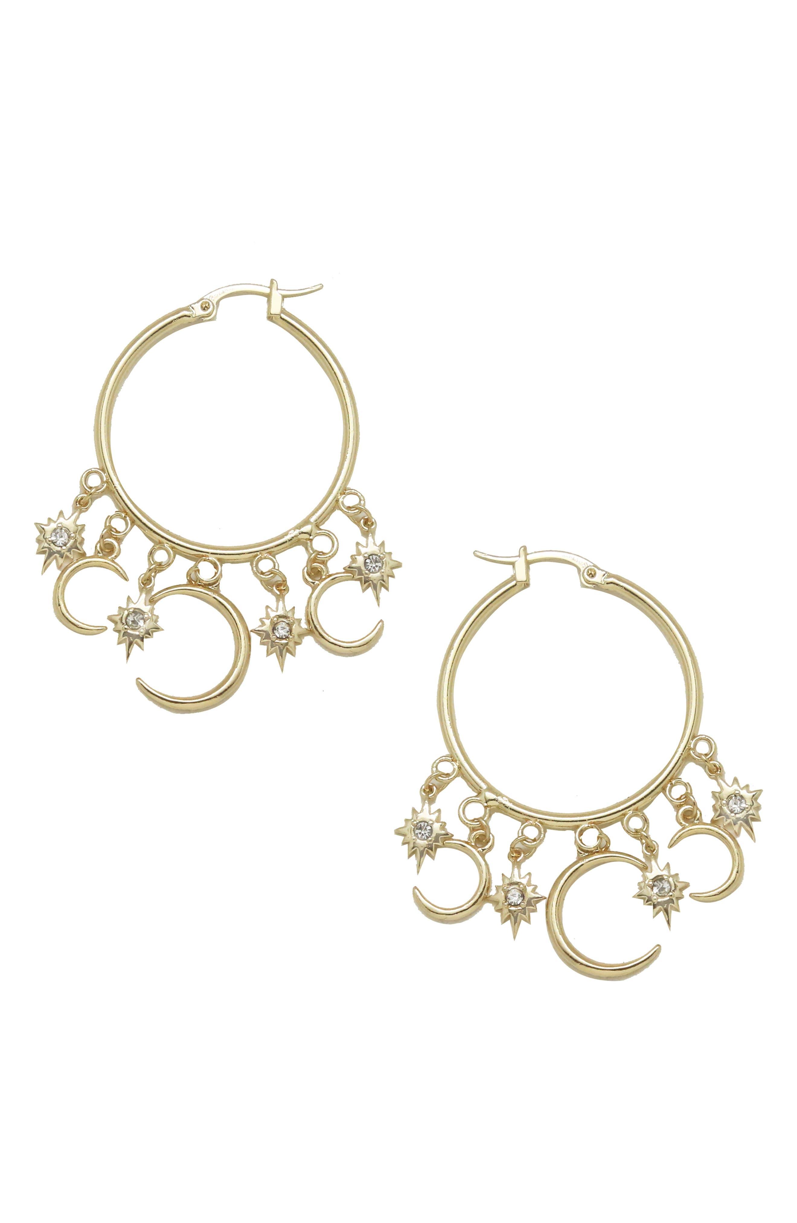 ETTIKA Moon Charm Hoop Earrings in Gold