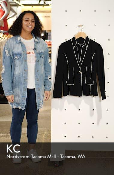 Contrast Jacquard Sweater Jacket, sales video thumbnail