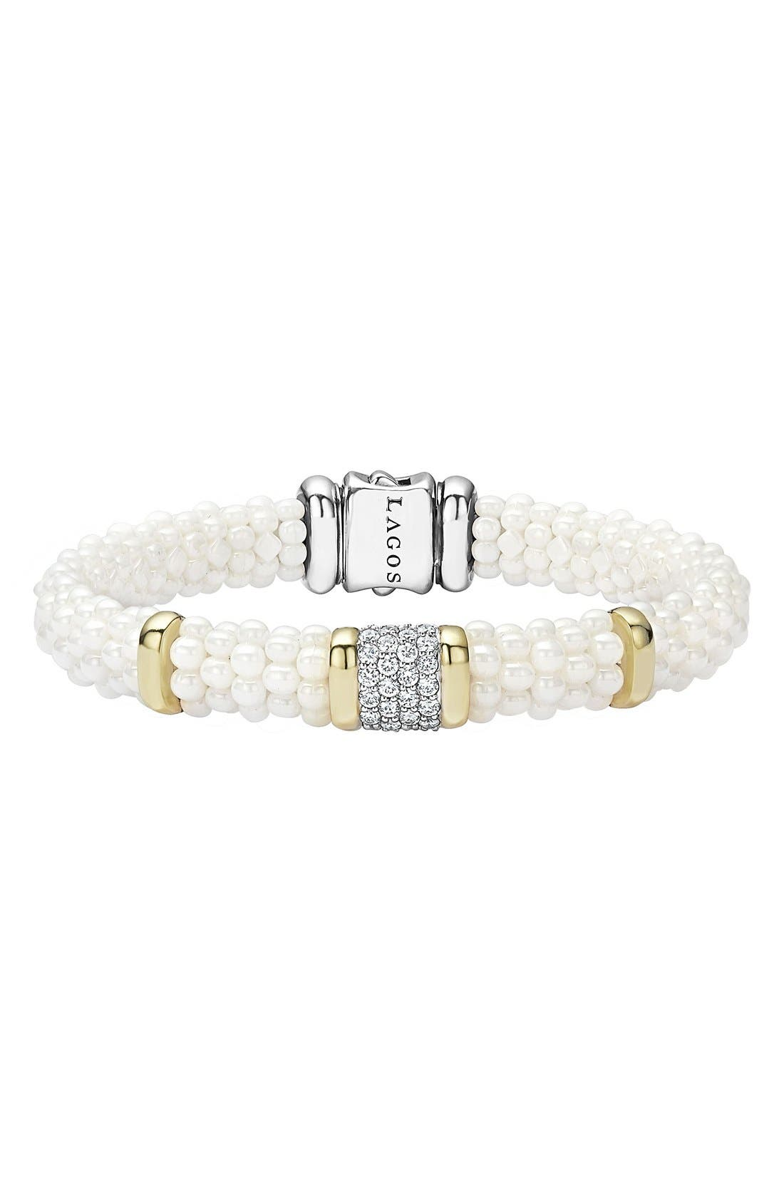 'White Caviar' Diamond Rope Bracelet,                             Main thumbnail 1, color,                             WHITE CAVIAR/ YELLOW GOLD