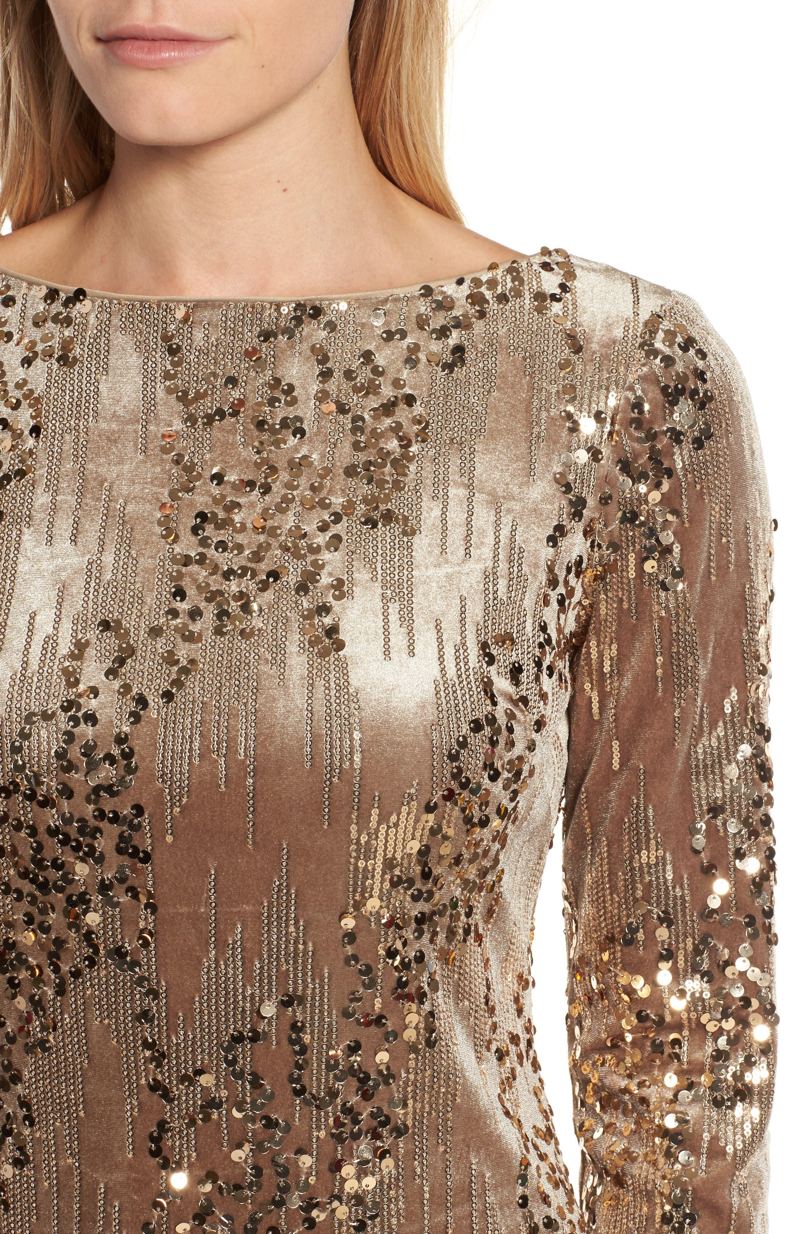 Sequin & Velvet Sheath Dress,                             Alternate thumbnail 4, color,