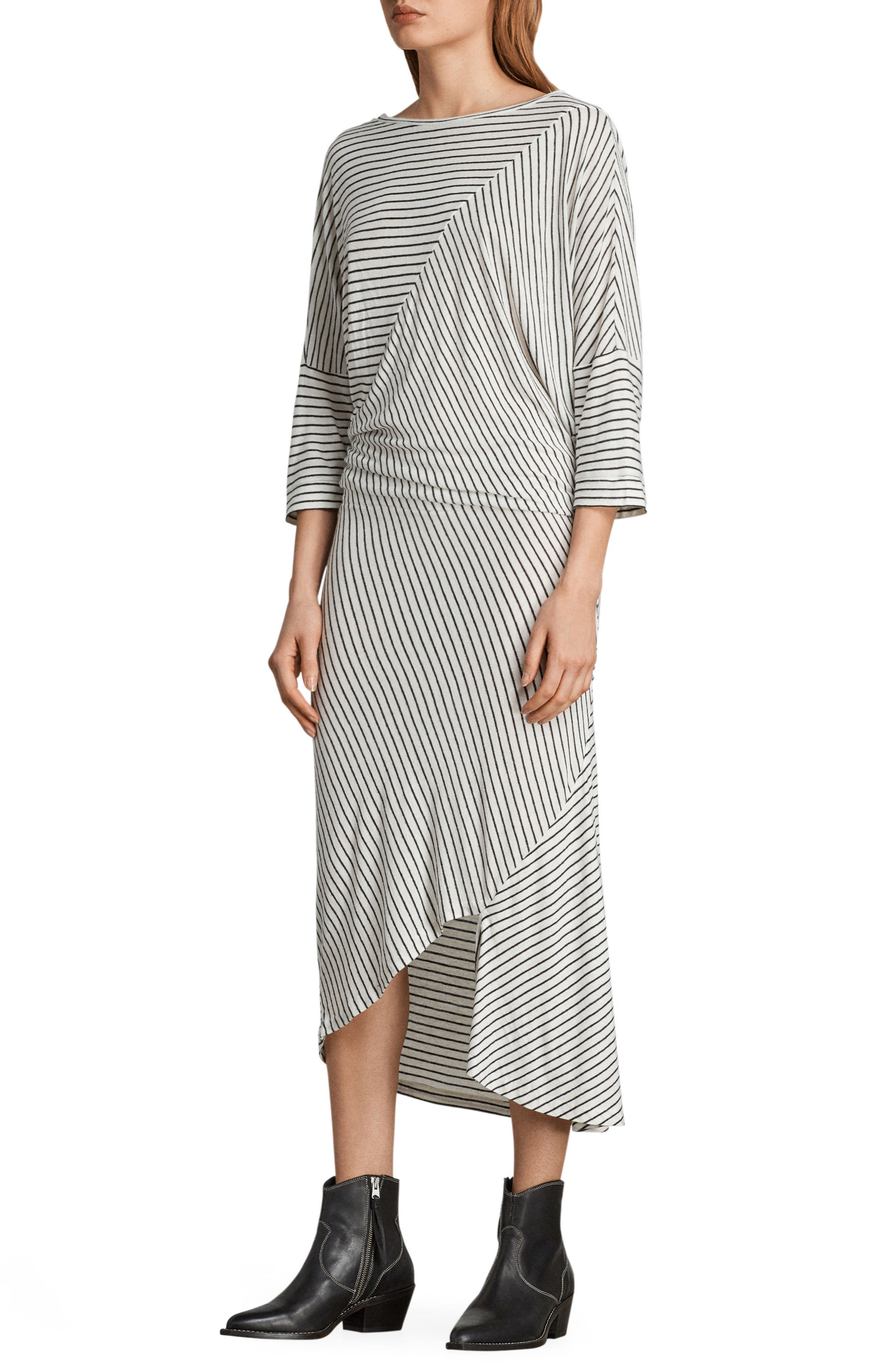Cadie Stripe Midi Dress,                             Alternate thumbnail 3, color,                             116