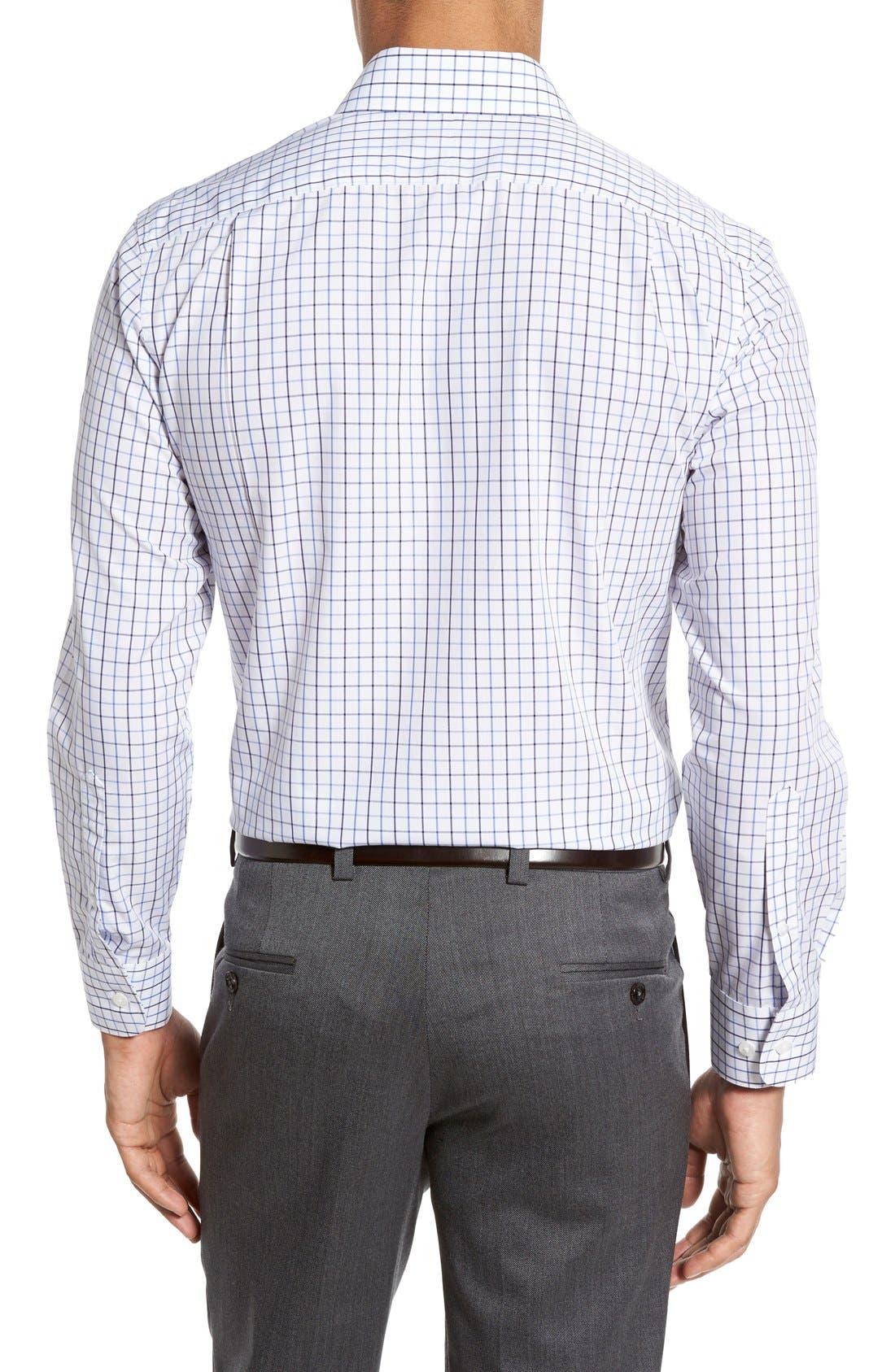 Slim Fit Wrinkle Free Check Dress Shirt,                             Alternate thumbnail 3, color,                             WHITE