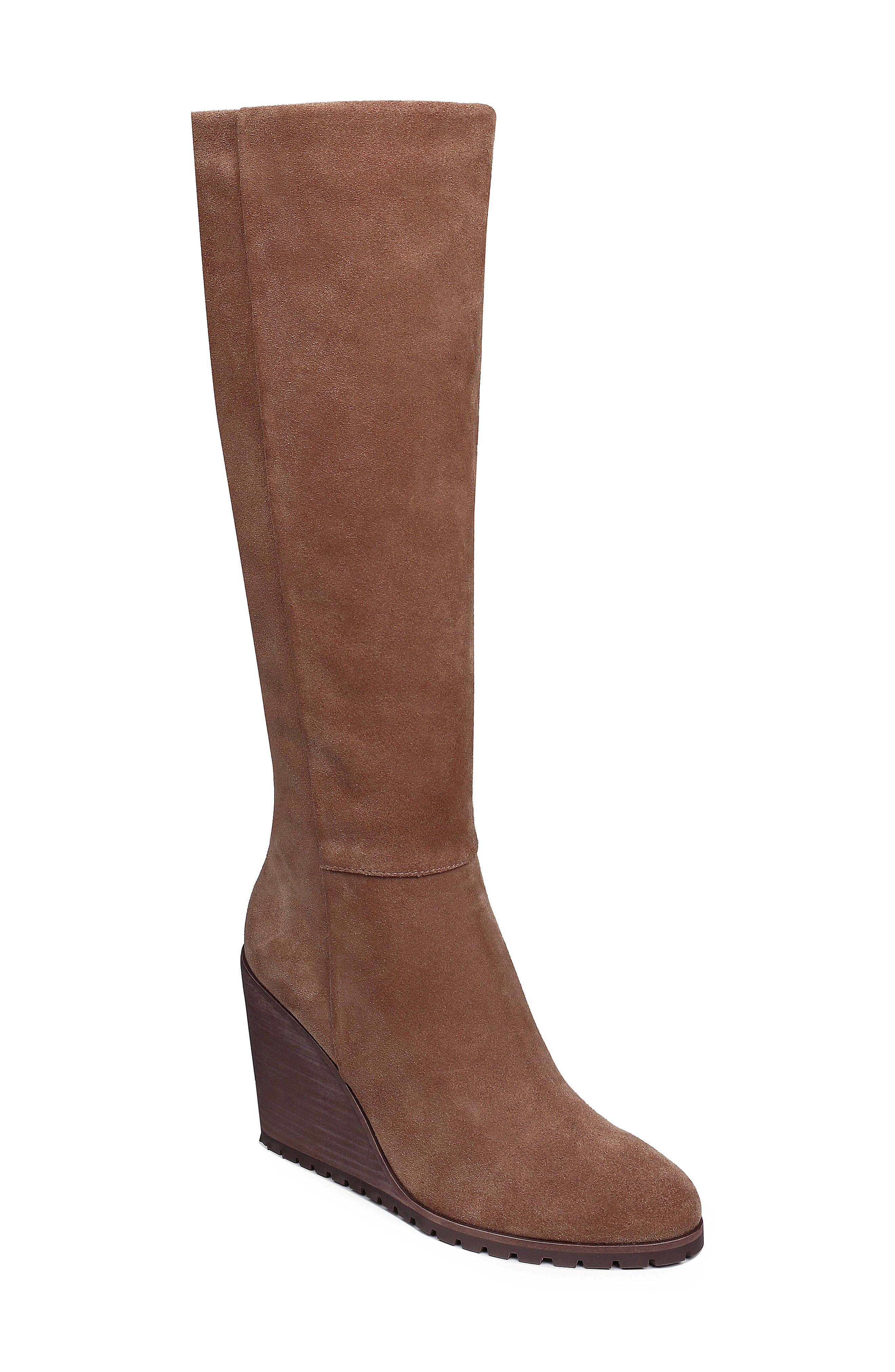 Cleveland Wedge Boot,                             Main thumbnail 1, color,                             LIGHT BROWN SUEDE