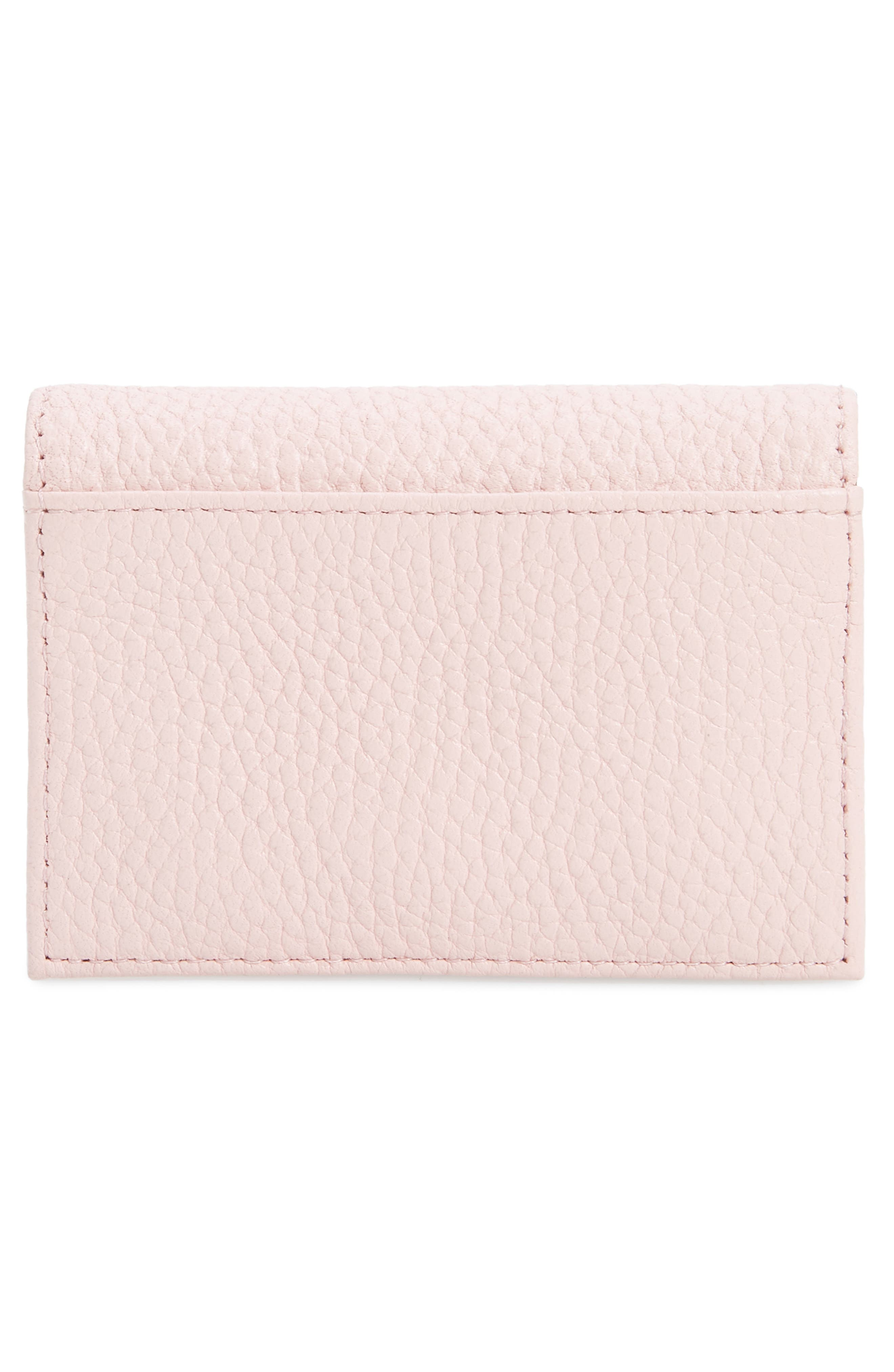 Eves Accordion Leather Card Case,                             Alternate thumbnail 3, color,                             LIGHT PINK