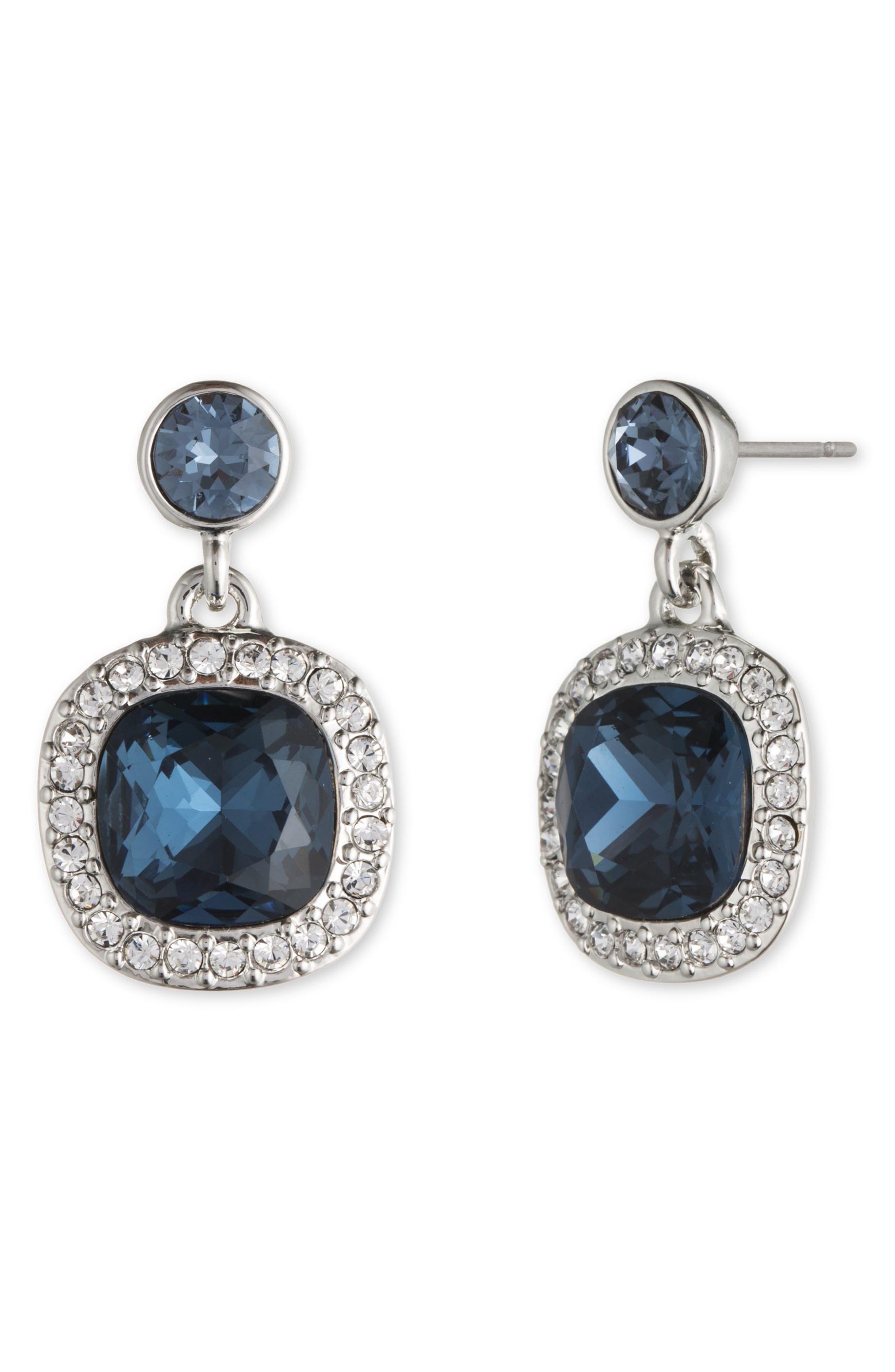 Crystal Drop Earrings,                             Main thumbnail 1, color,                             DENIM / SILVER