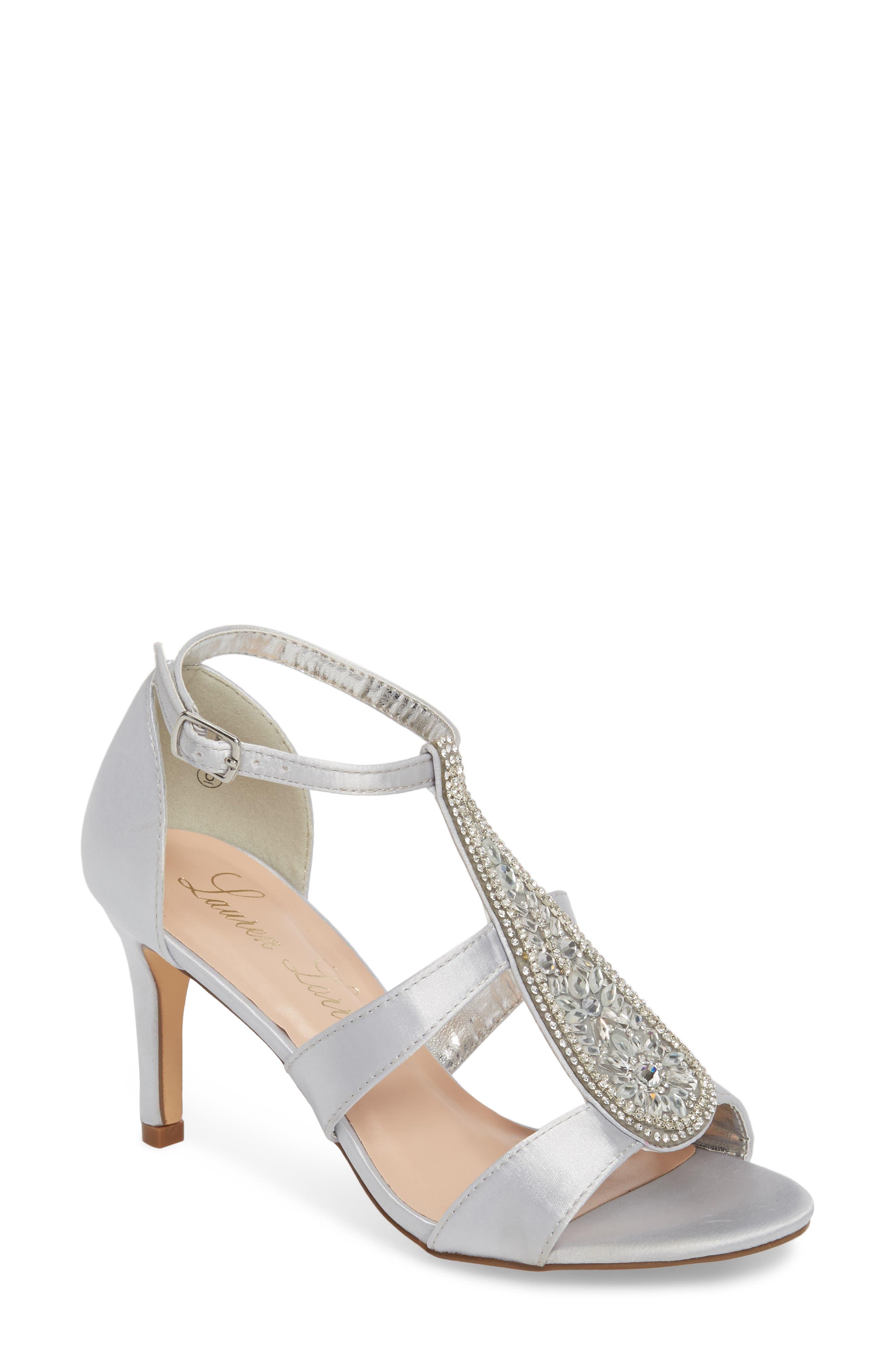 Lauren Lorraine Ritz Crystal Embellished Sandal- Metallic