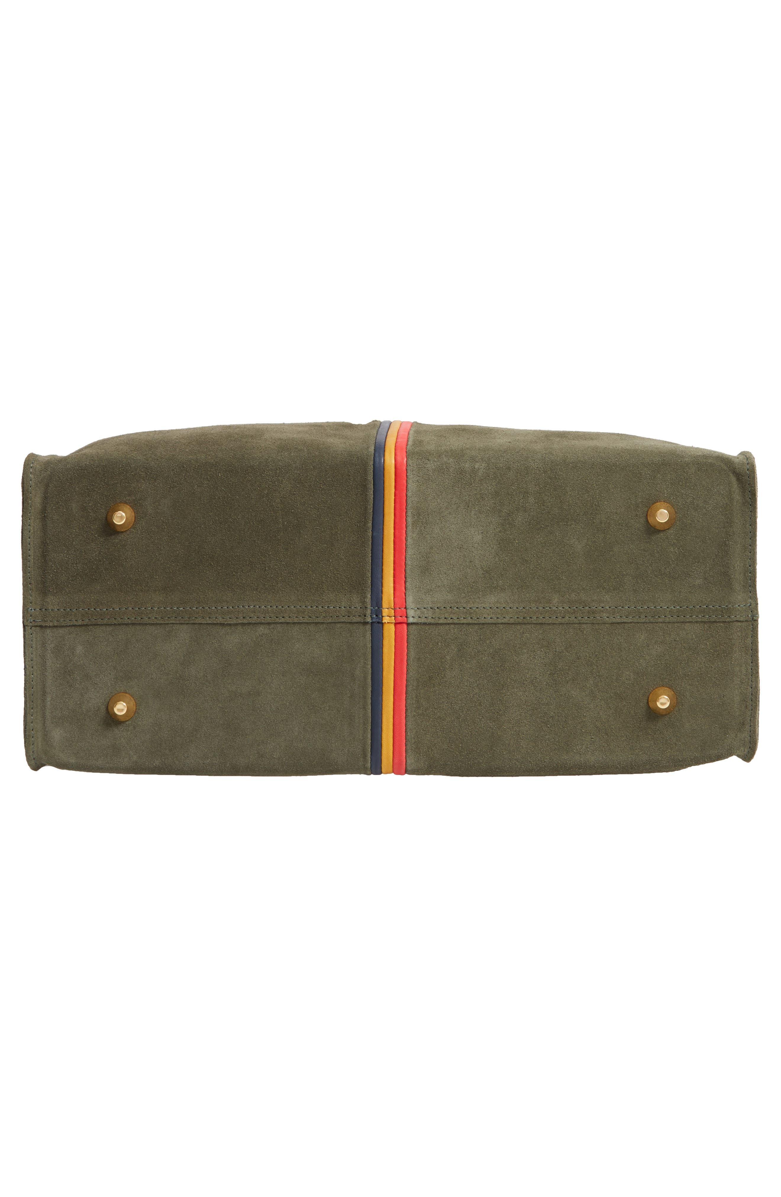 Simple Stripe Nubuck Tote,                             Alternate thumbnail 6, color,                             ARMY SUEDE STRIPE