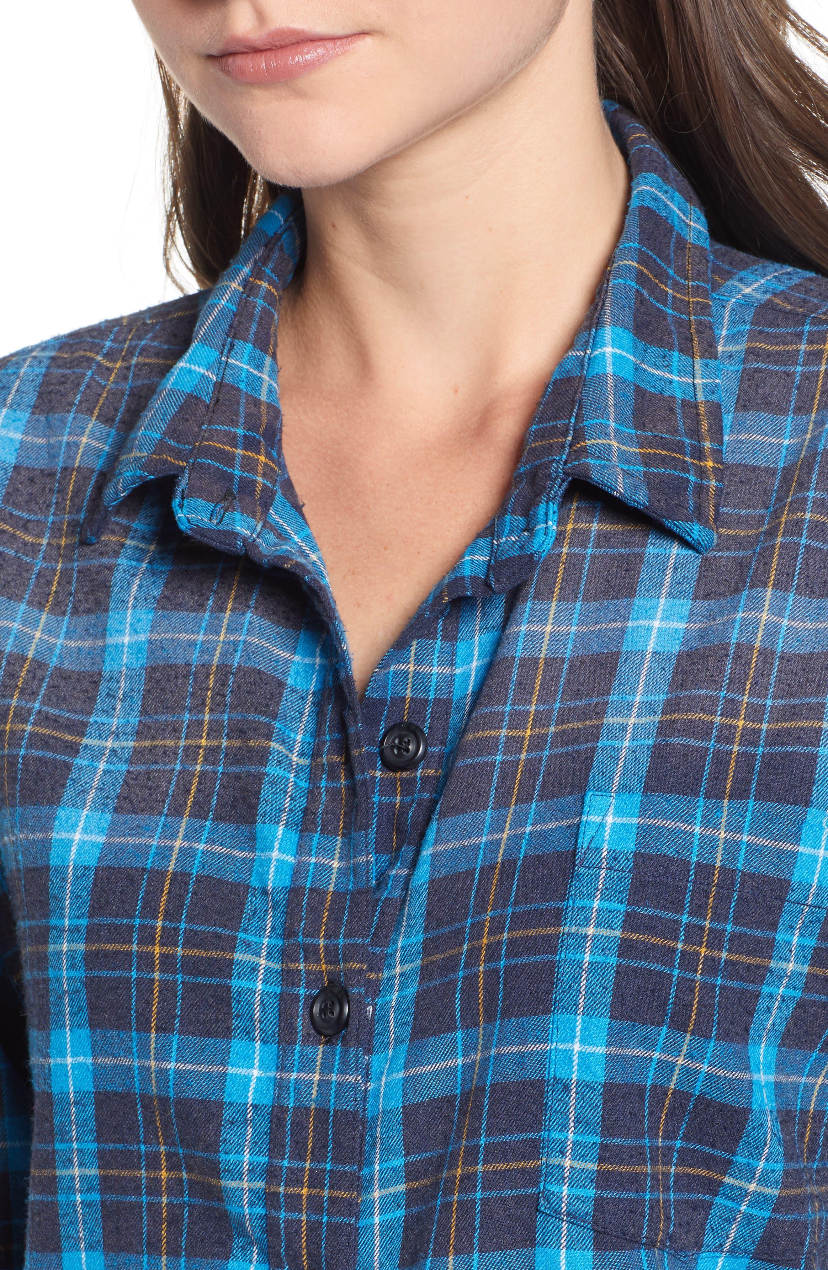 Back Tie Plaid Shirt,                             Alternate thumbnail 4, color,                             498
