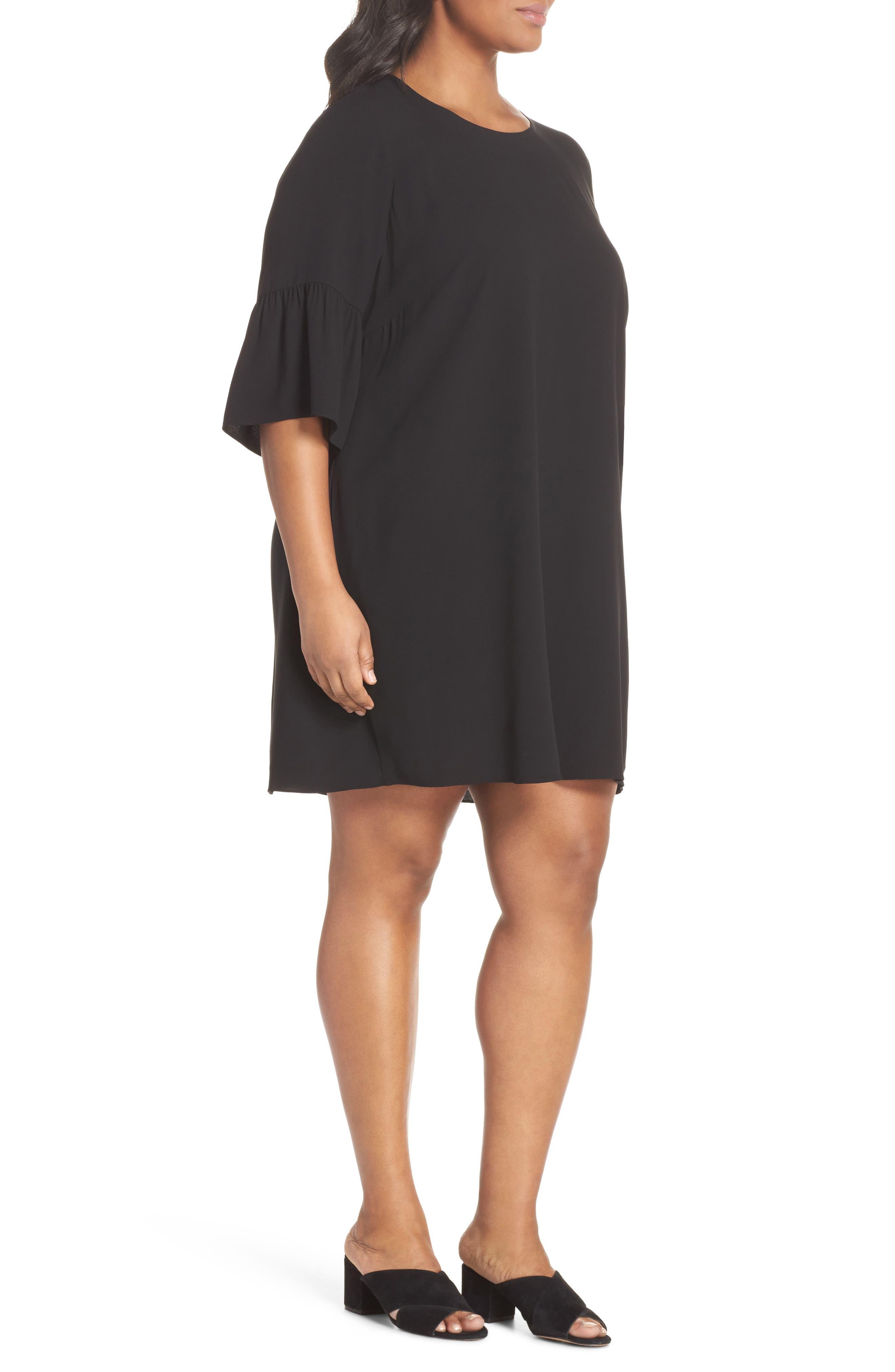 Flare Sleeve Silk Shift Dress,                             Alternate thumbnail 3, color,                             001