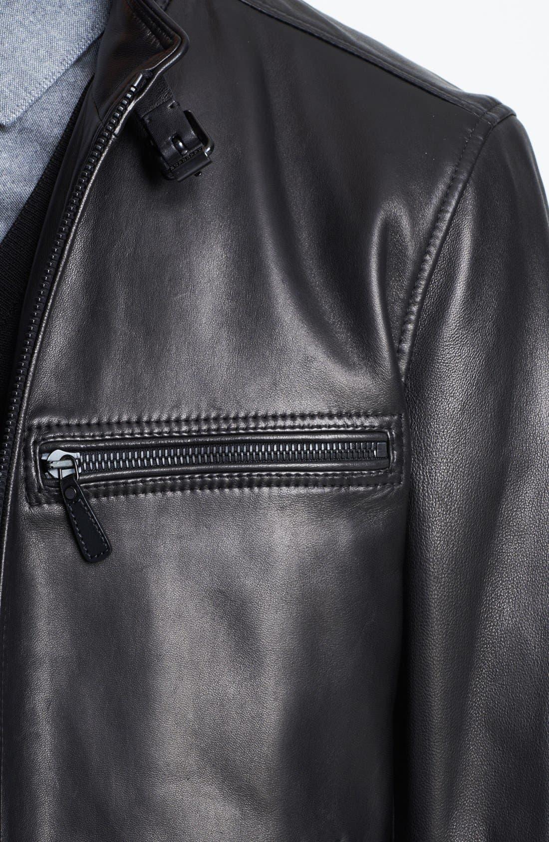 London 'Sterling' Leather Biker Jacket,                             Alternate thumbnail 2, color,                             001