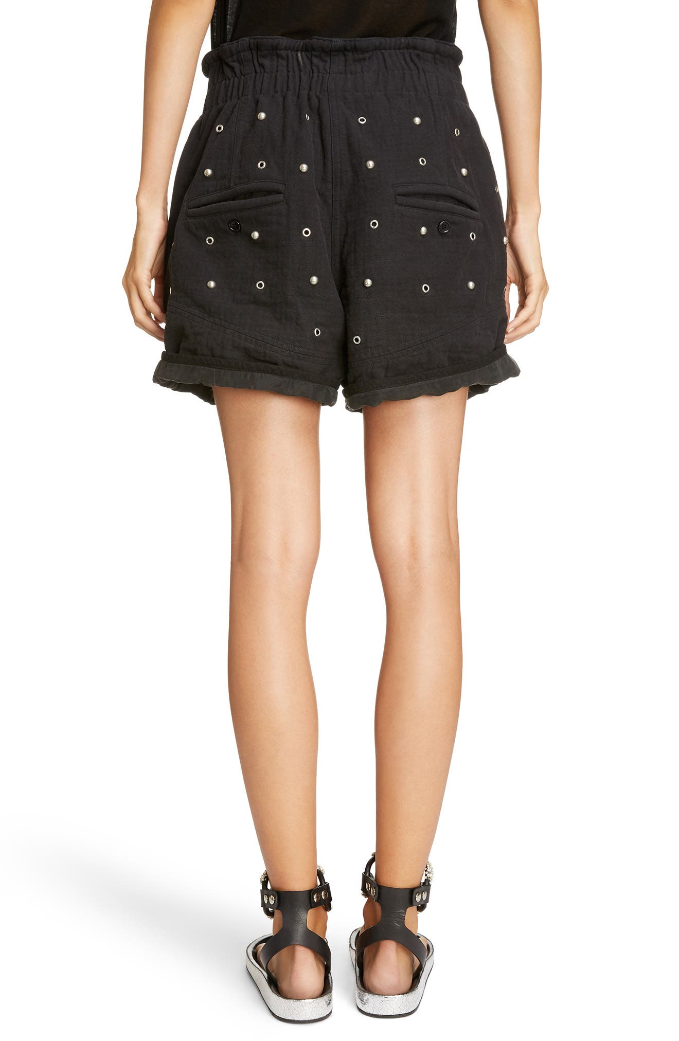 Grommet & Stud Shorts,                             Alternate thumbnail 2, color,                             002