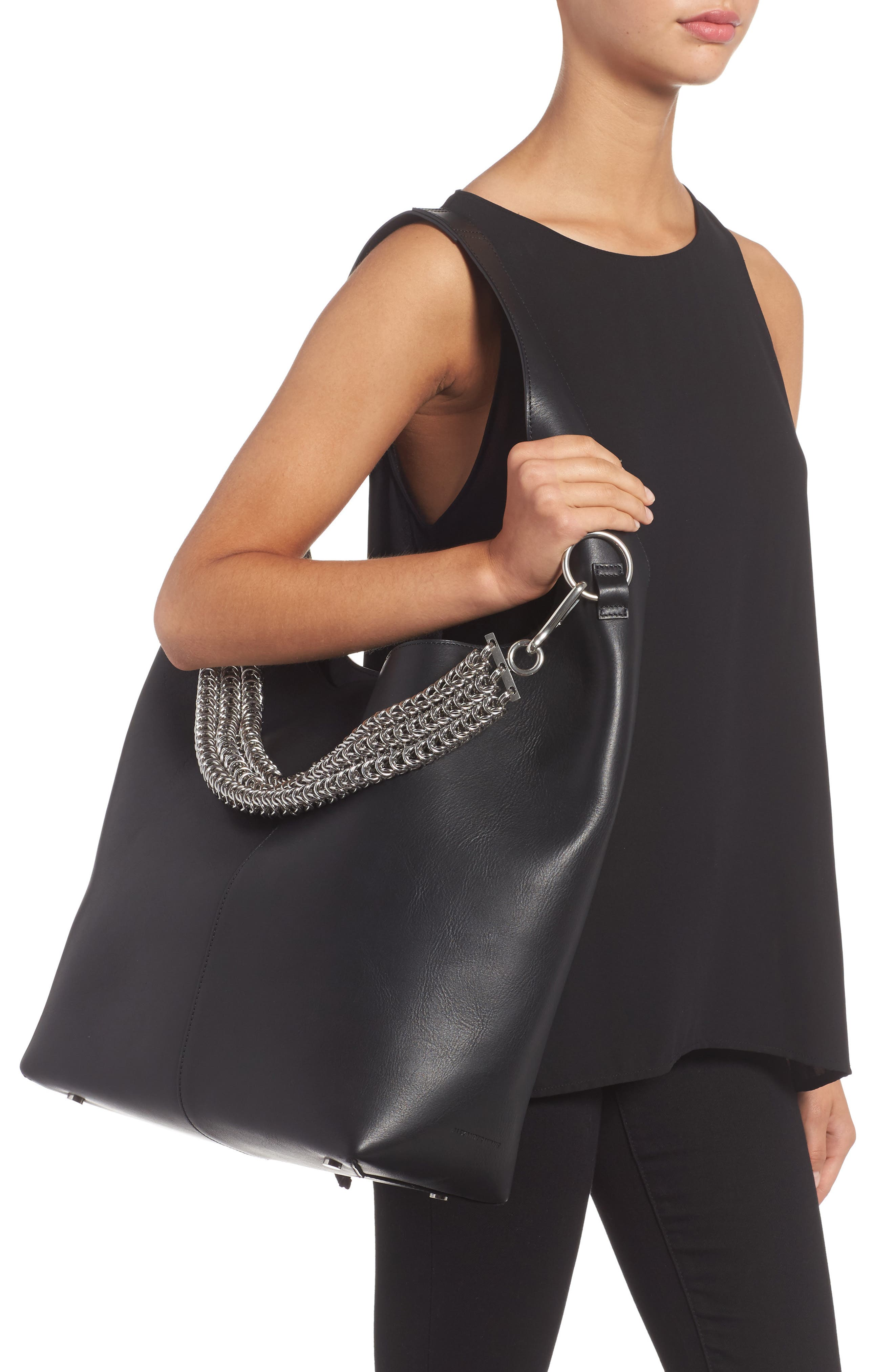 Genesis Box Chain Leather Hobo,                             Alternate thumbnail 2, color,                             BLACK