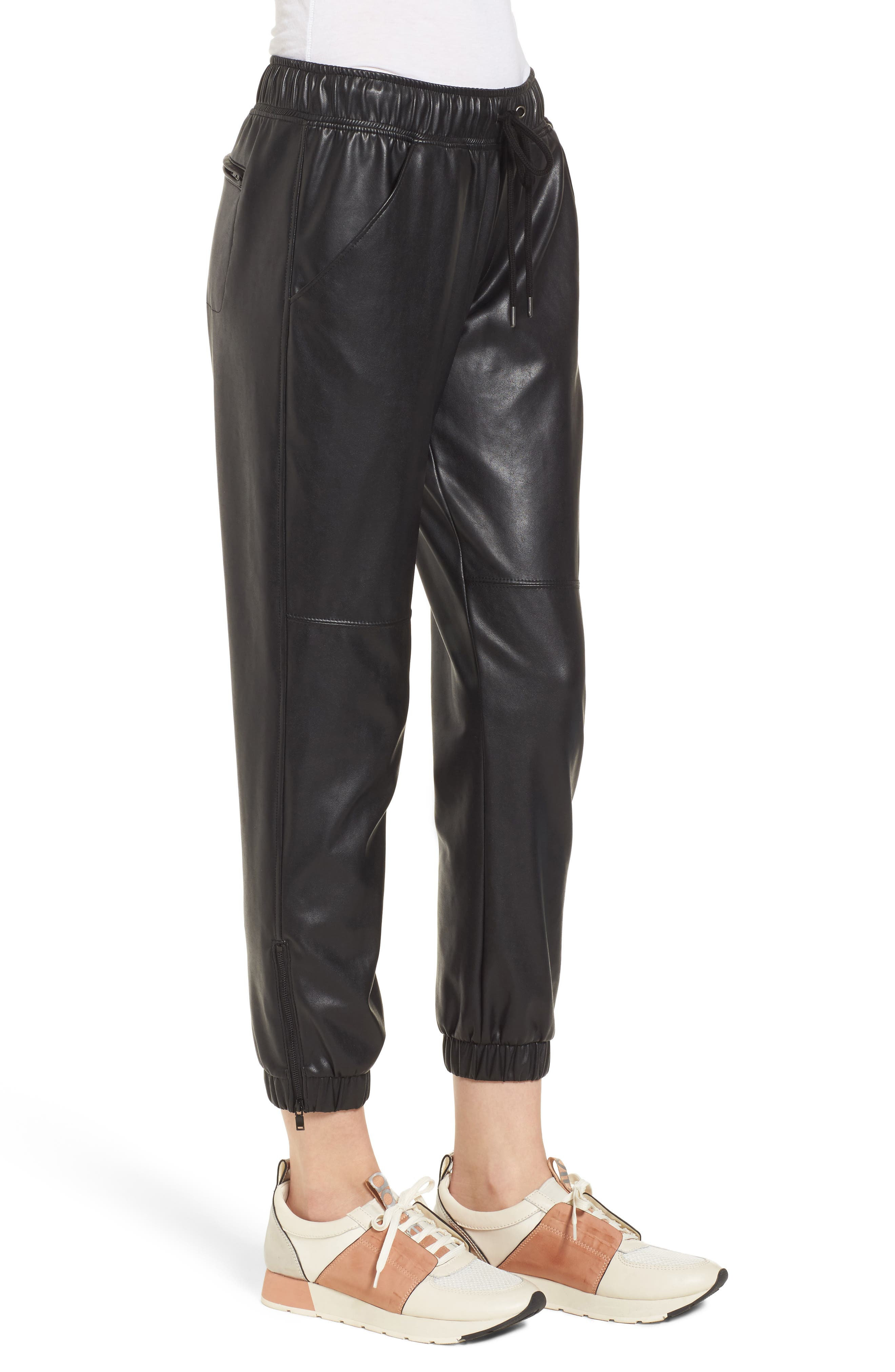 Ankle Zip Jogger Pants,                             Alternate thumbnail 3, color,                             BLACK