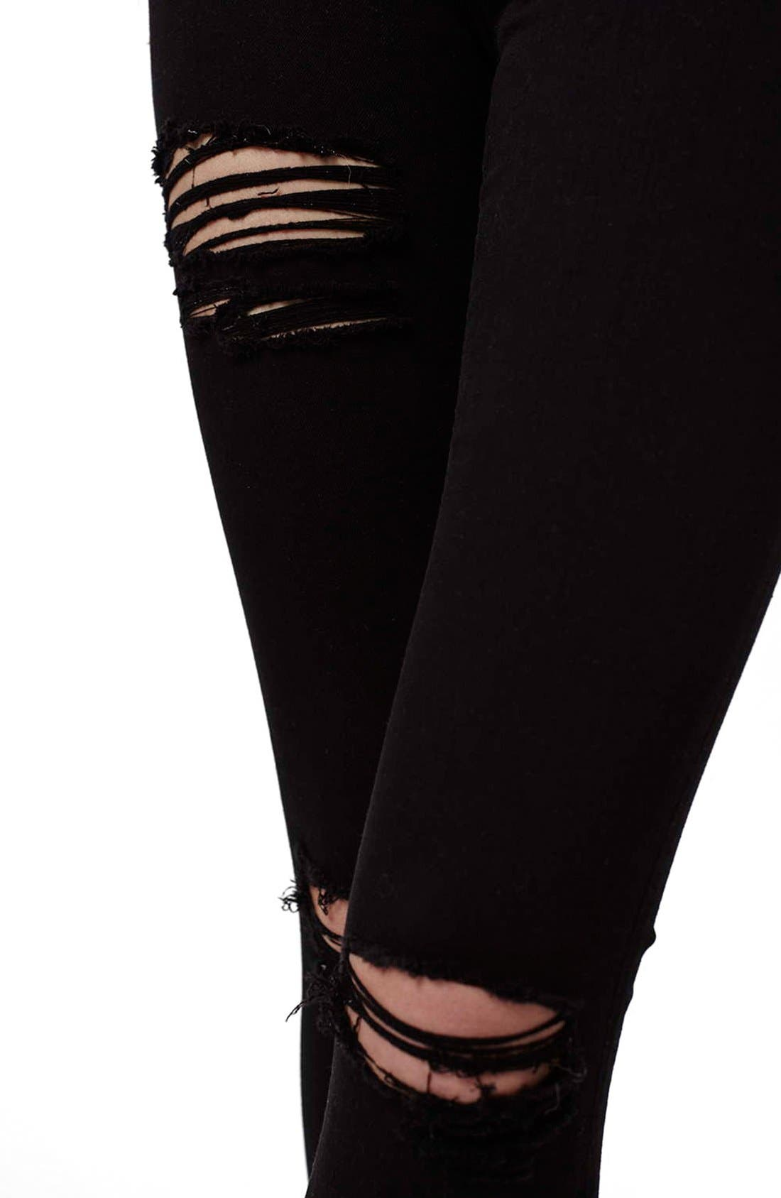 TOPSHOP,                             Ripped High Waist Ankle Skinny Jeans,                             Alternate thumbnail 11, color,                             001