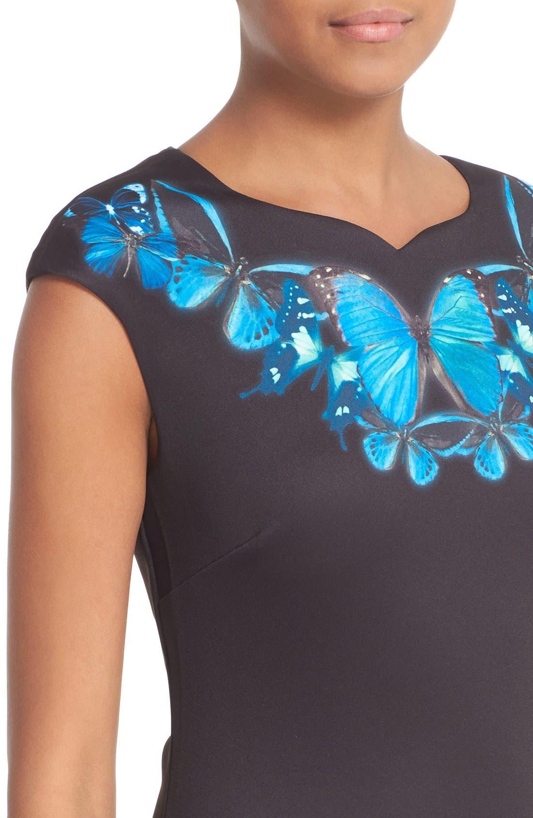 'Ashley - Butterfly Necklace' Sheath Dress,                             Alternate thumbnail 2, color,                             001