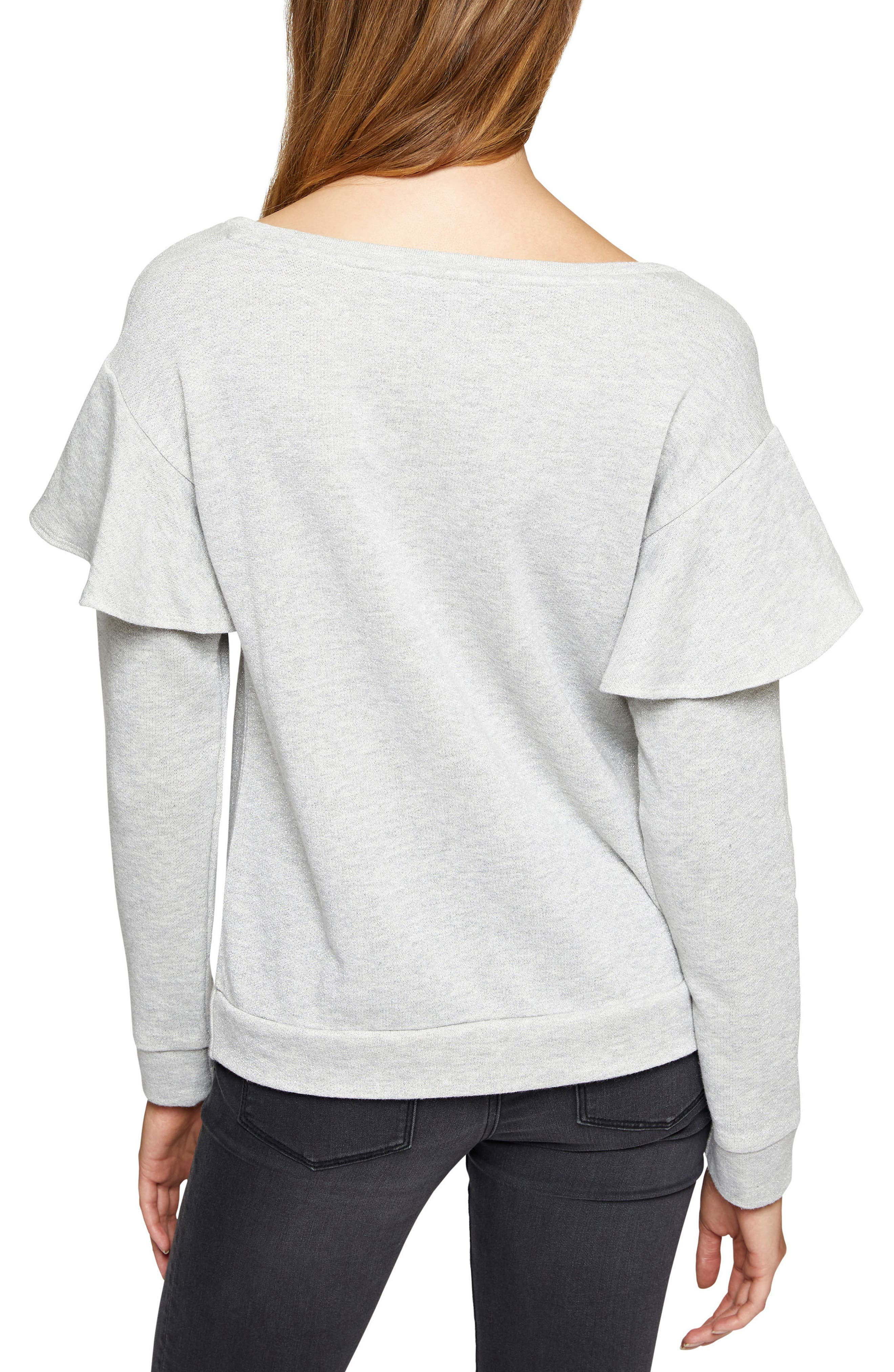 Dominique Metallic Sweatshirt,                             Alternate thumbnail 4, color,