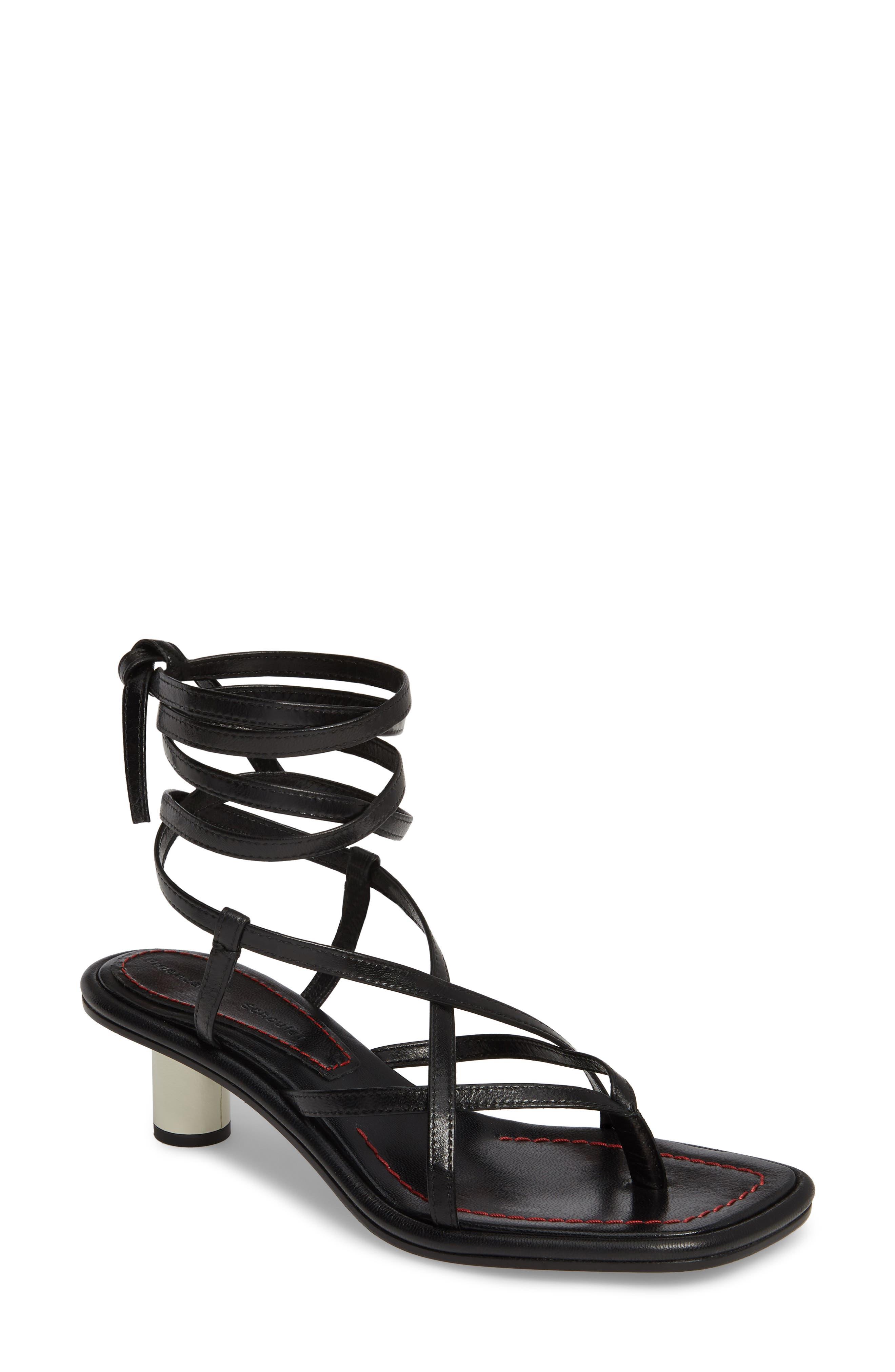 Wraparound Ankle Strap Sandal,                             Main thumbnail 1, color,                             BLACK