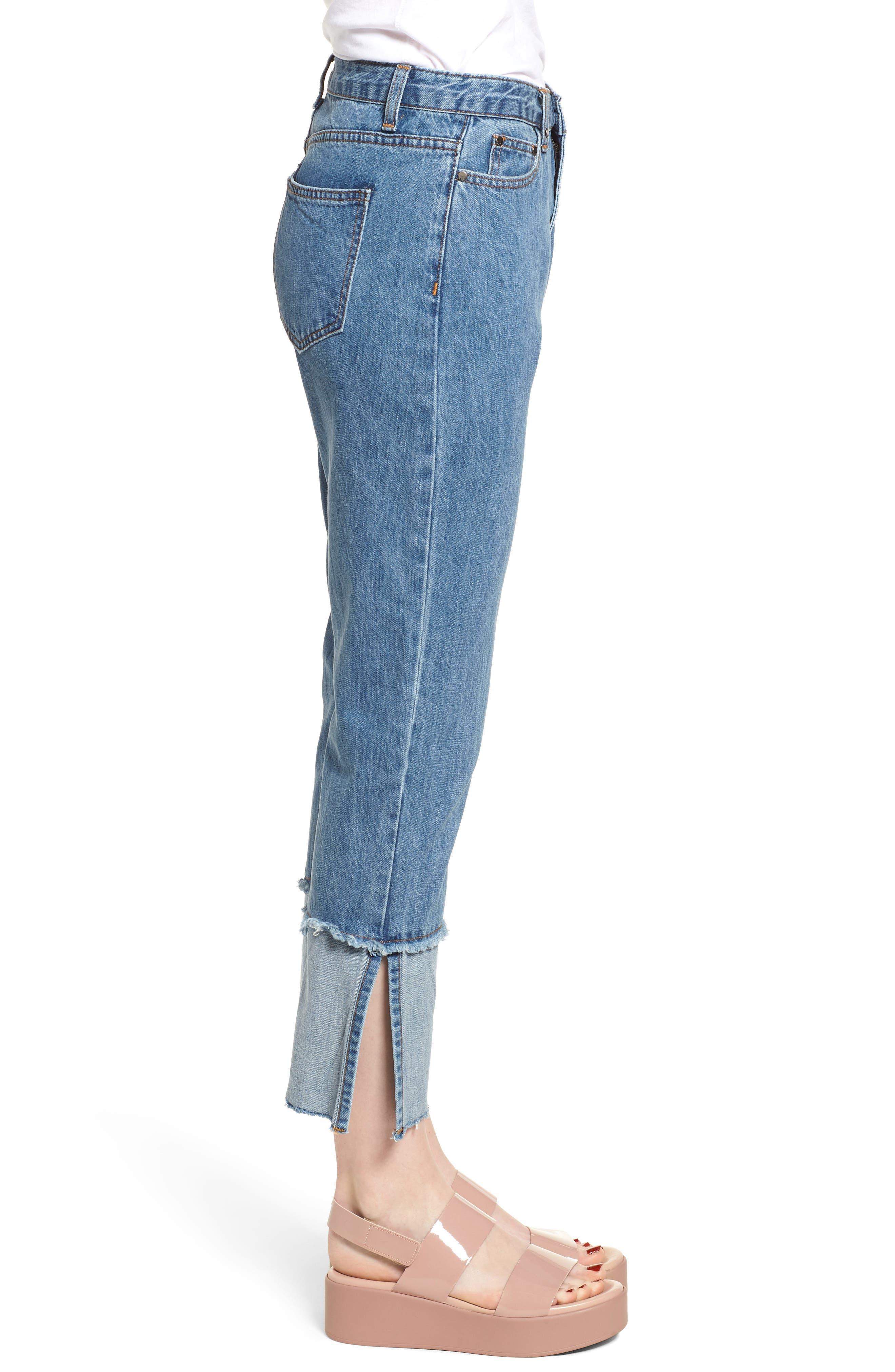 Cuffed Raw Hem Crop Jeans,                             Alternate thumbnail 3, color,                             FAIRFAX