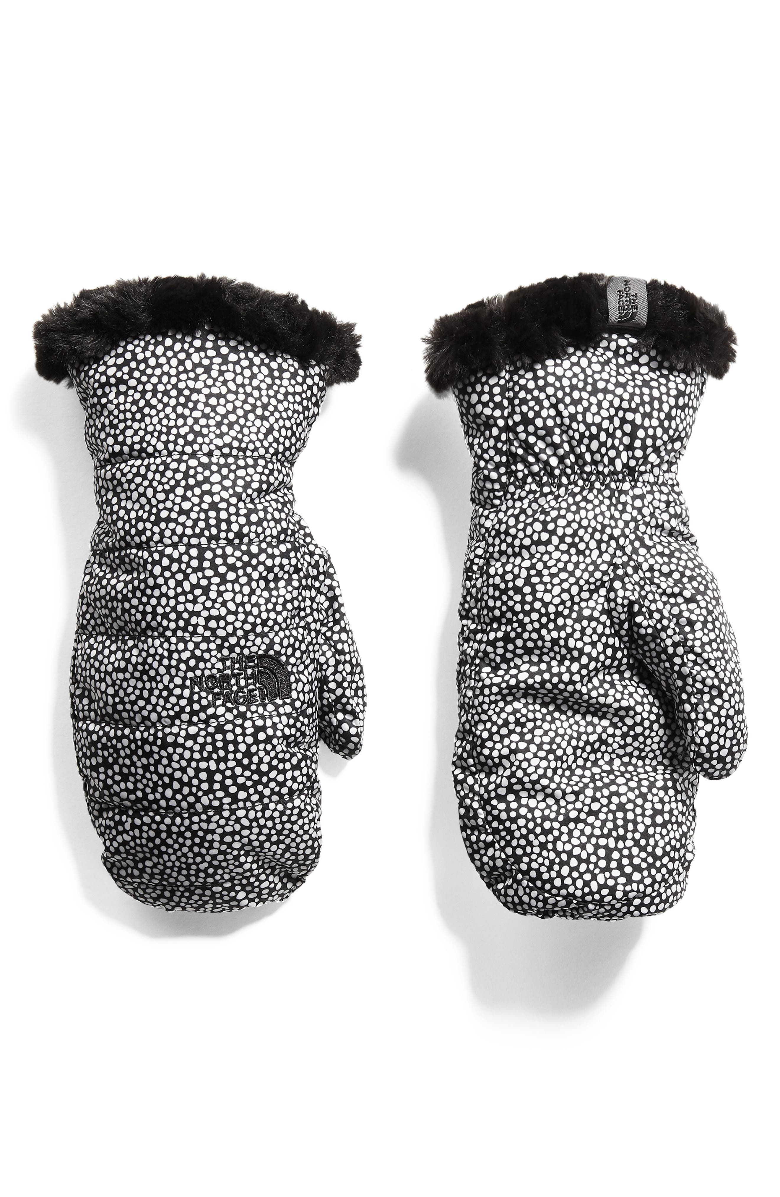 Mossbud Swirl Reversible Water Resistant Heatseeker<sup>™</sup> Insulated Mittens,                         Main,                         color, WHITE DOT PRINT/ BLACK