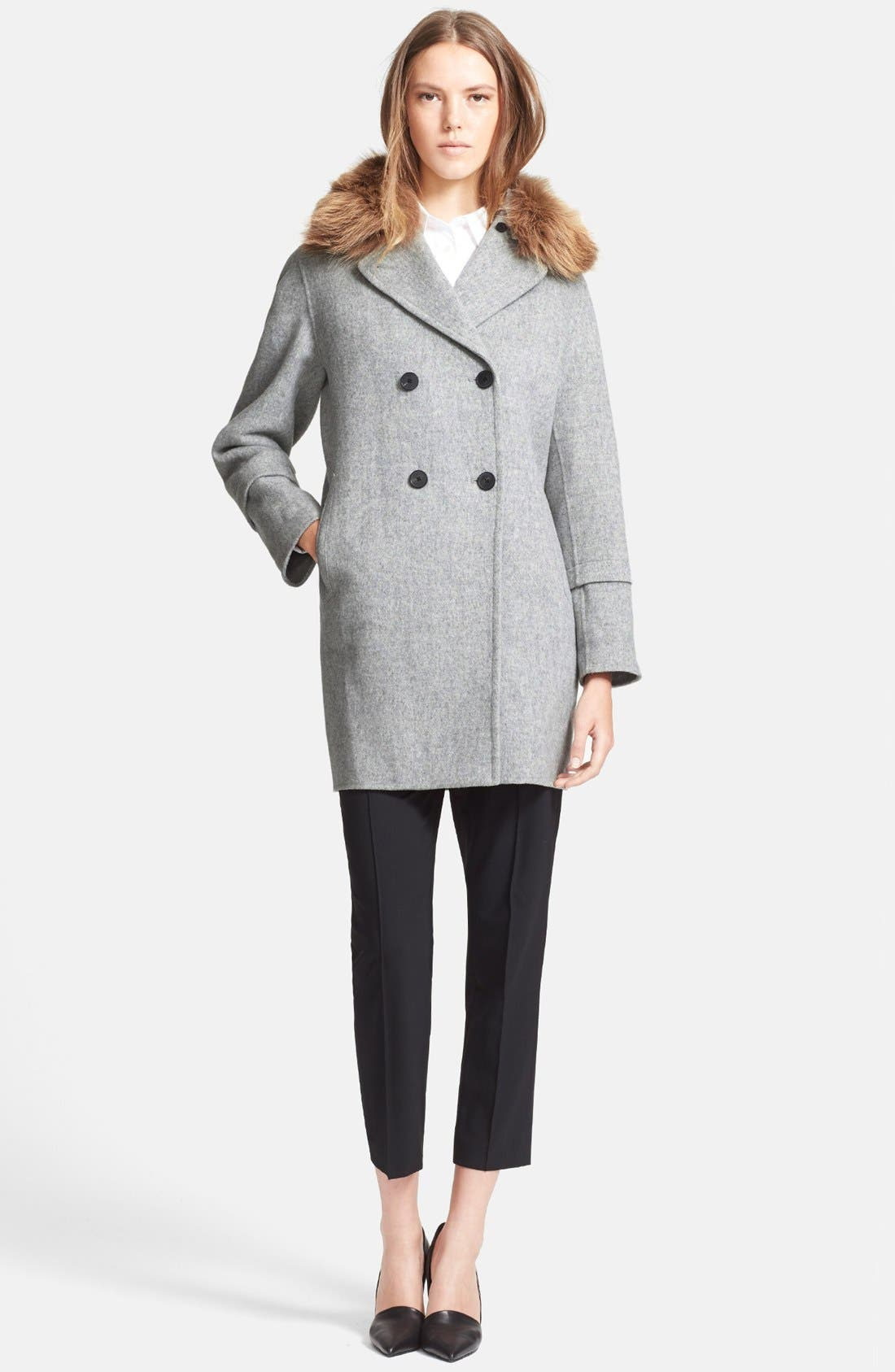 Peacoat with Removable Genuine Coyote Fur Collar,                             Alternate thumbnail 4, color,                             020