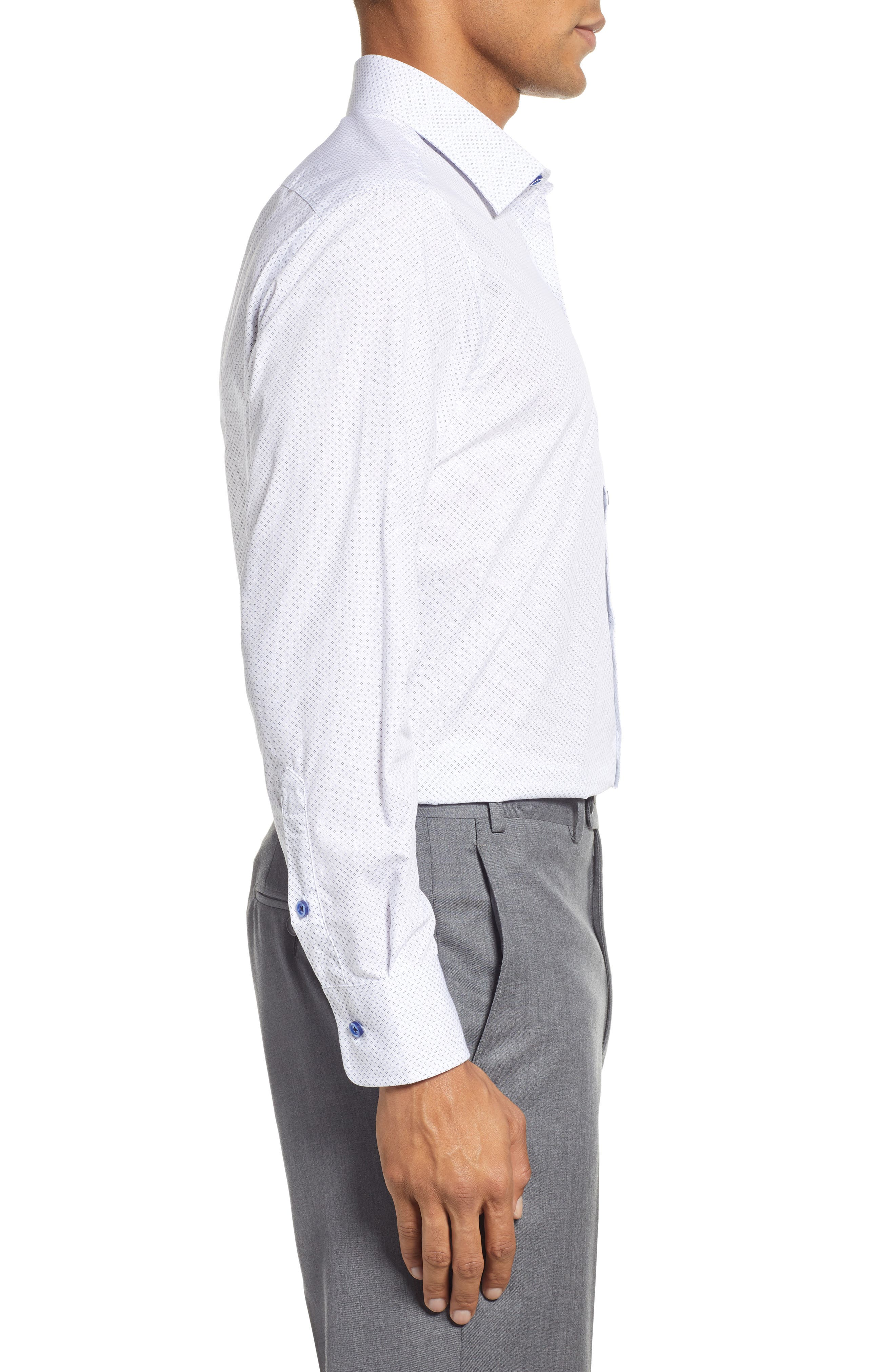 Slim Fit Diamond Dress Shirt,                             Alternate thumbnail 4, color,                             WHITE DIAMOND DOT
