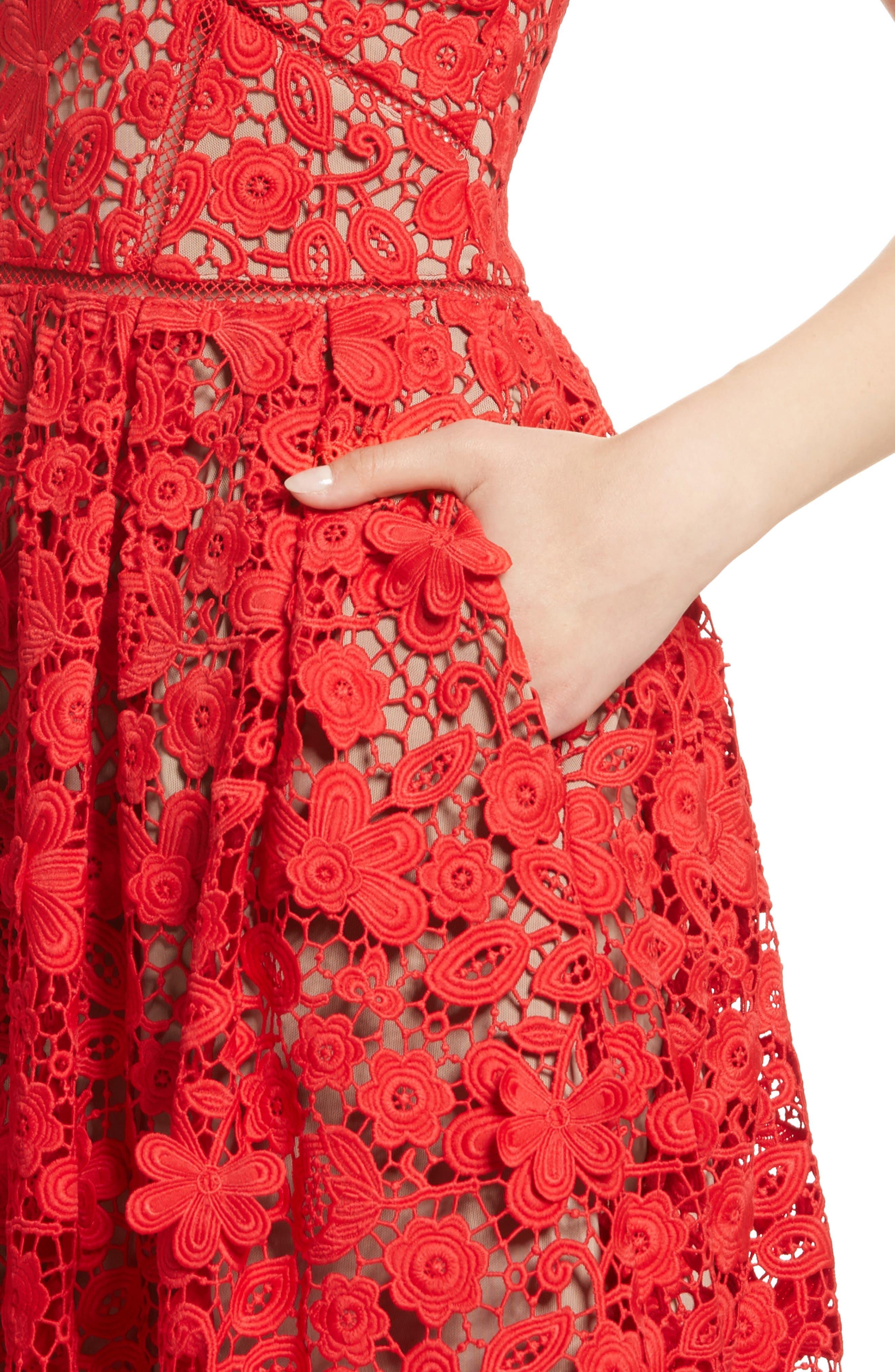 Azaelea 3D Lace Fit & Flare Dress,                             Alternate thumbnail 12, color,