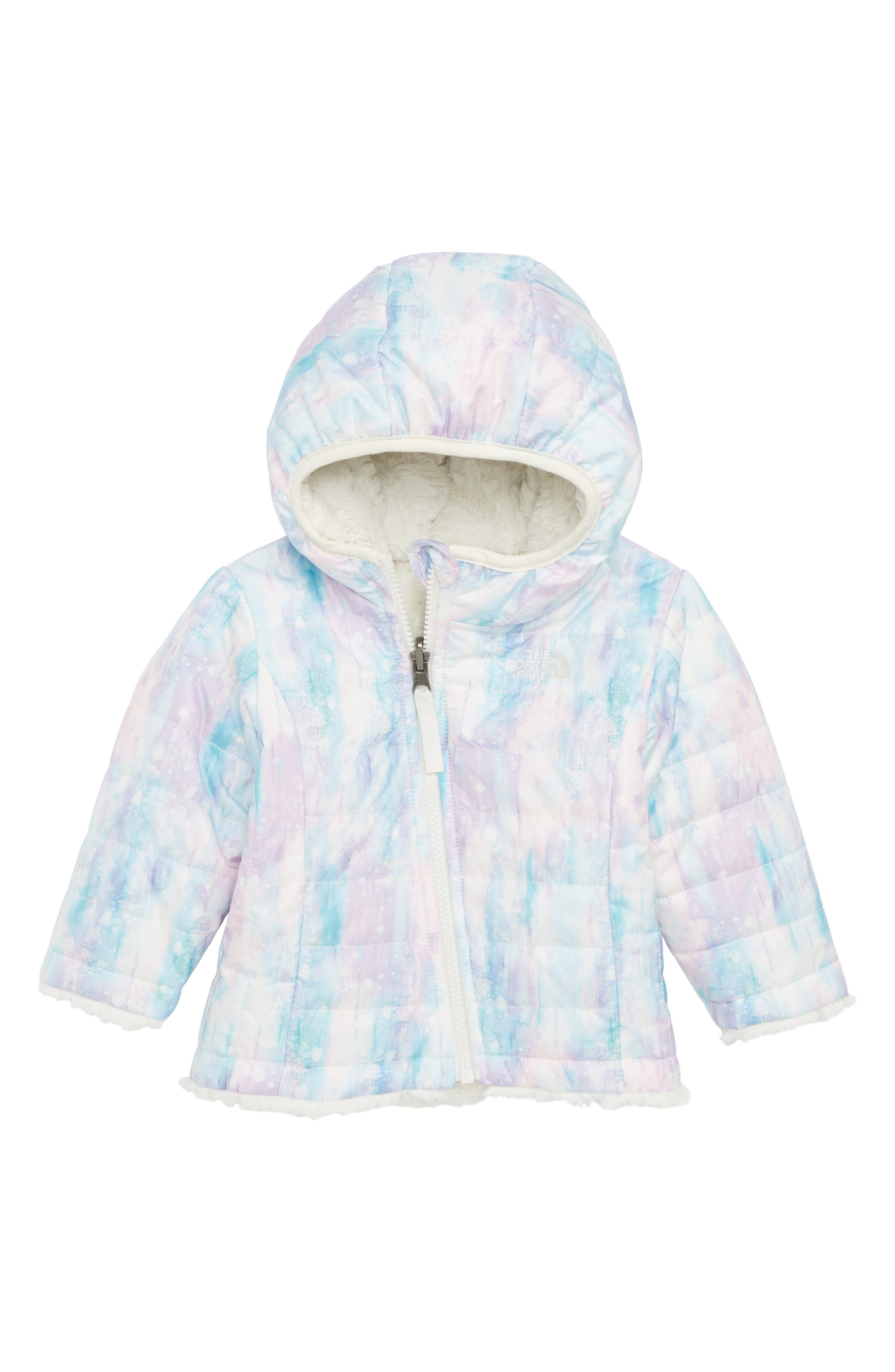 Mossbud Swirl Reversible Water Repellent Heatseeker<sup>™</sup> Insulated Jacket,                             Main thumbnail 1, color,                             PURDY PINK/ SNOW DUST PRINT