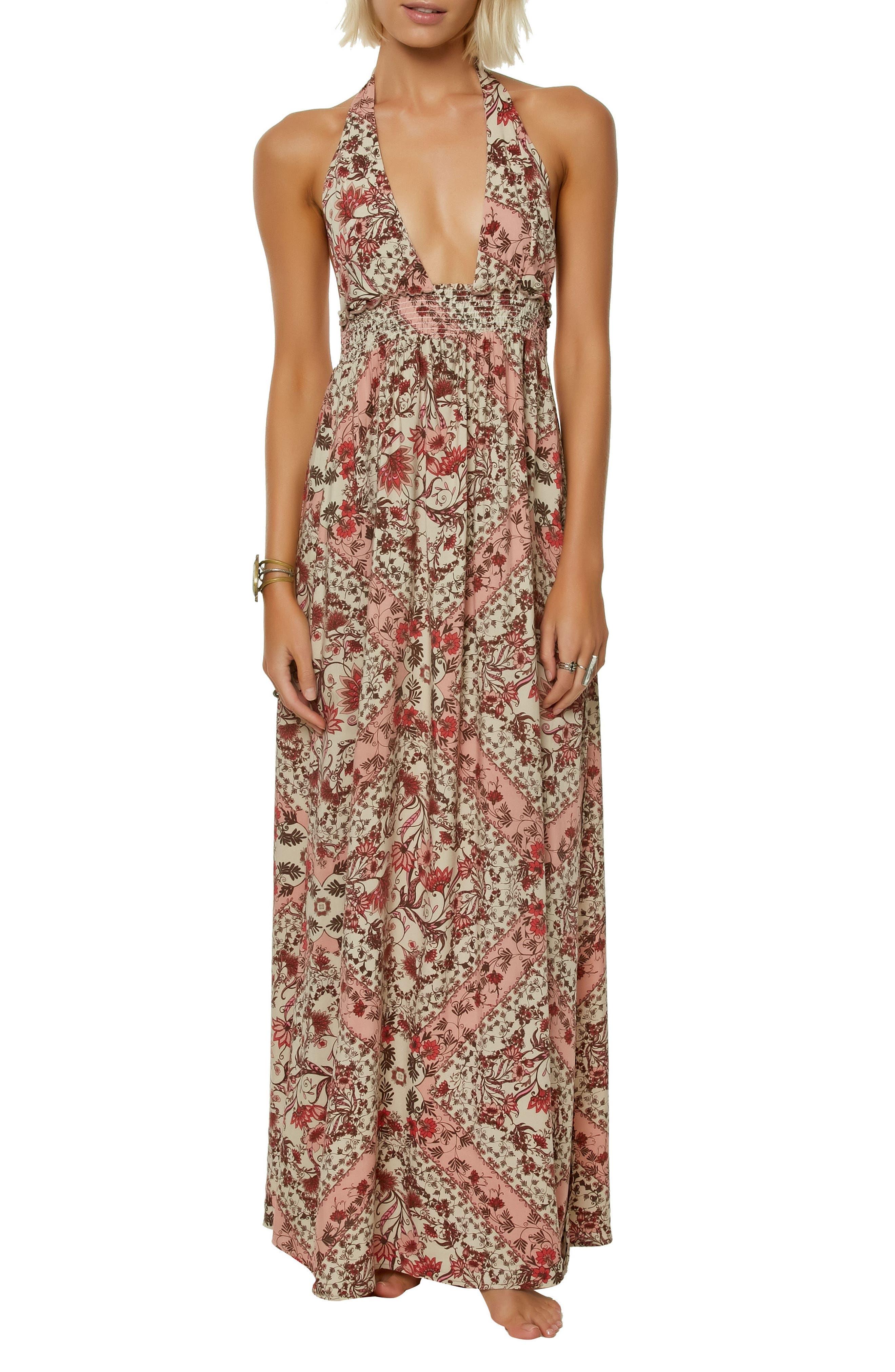 Dolley Halter Neck Maxi Dress,                         Main,                         color, CAF CREME