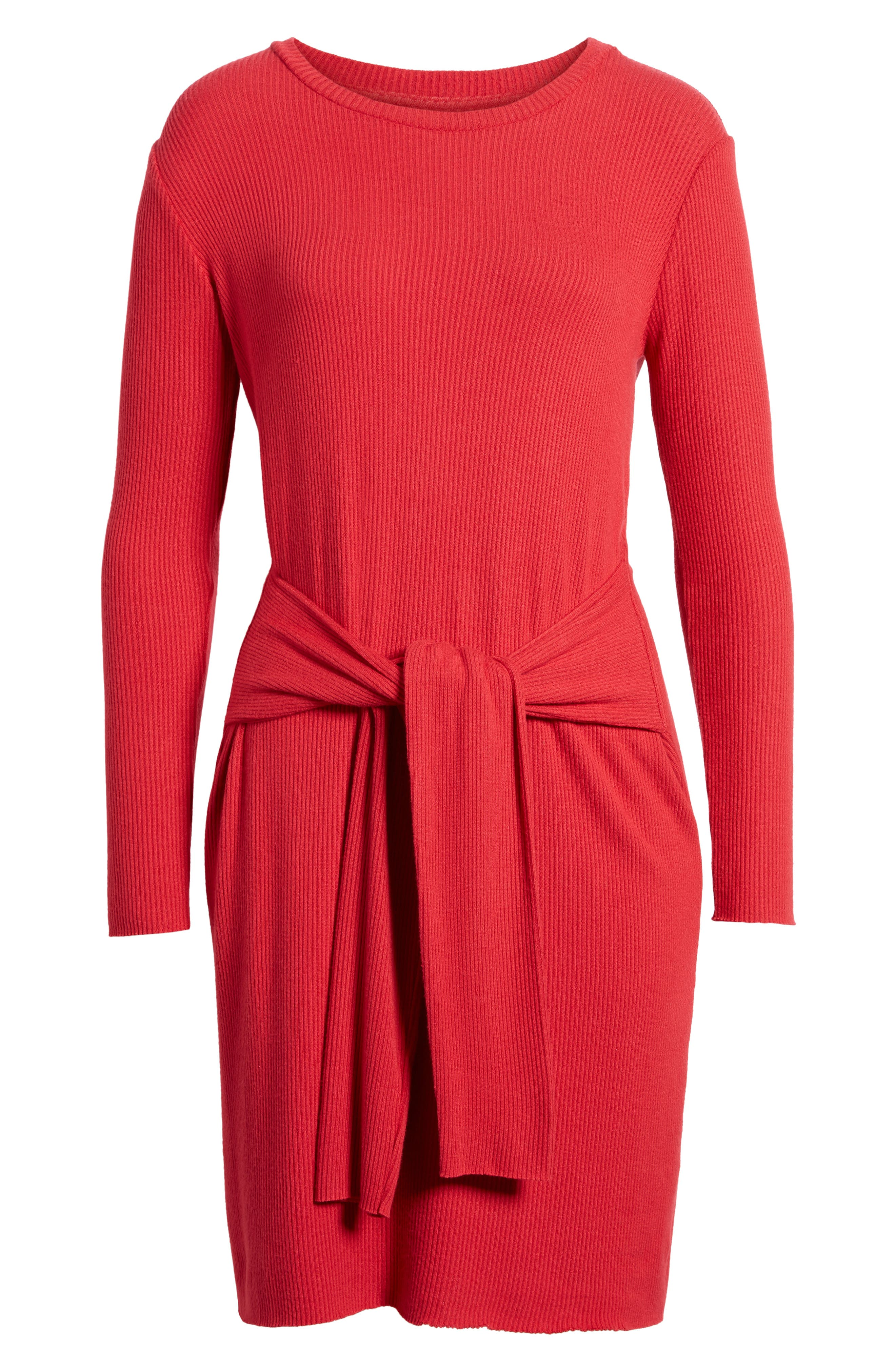 Ribbed Tie-Waist Sweater Dress,                             Alternate thumbnail 6, color,                             600