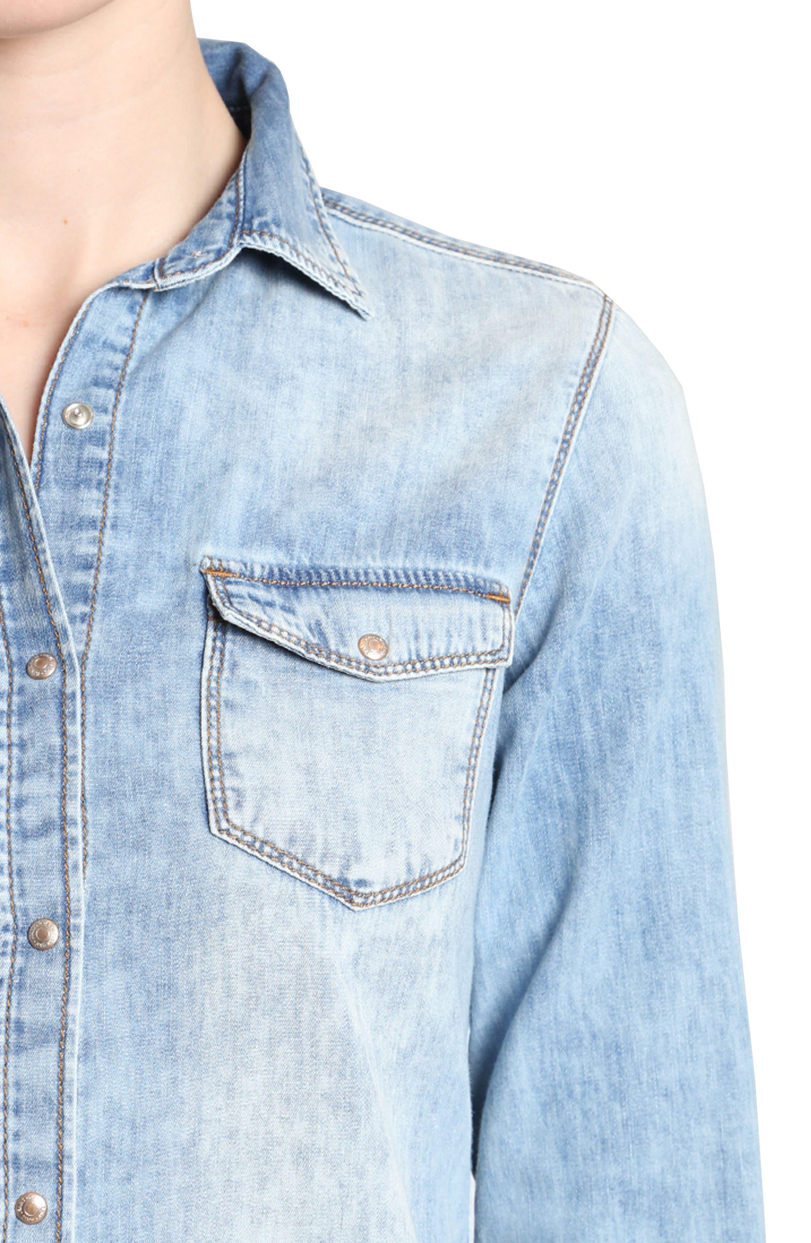 Mavi Isabel Rose Embroidery Denim Shirt,                             Alternate thumbnail 3, color,                             420