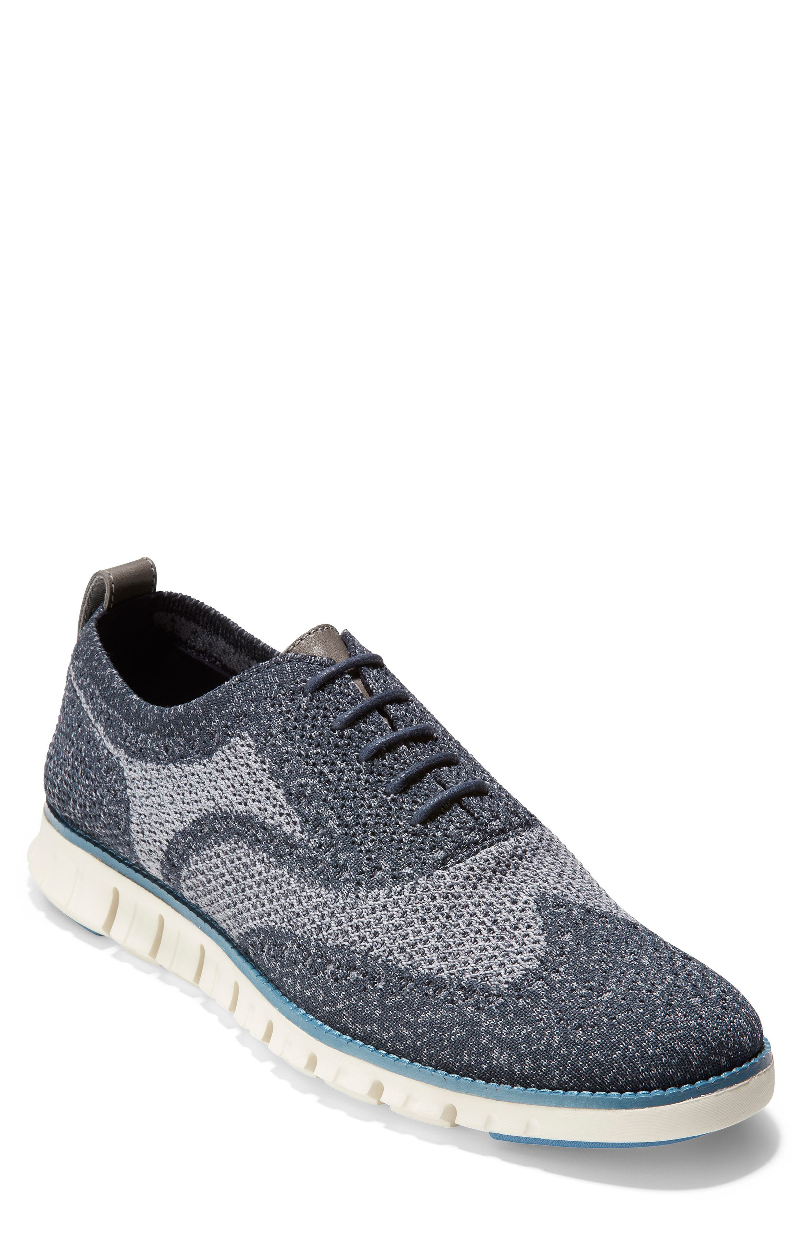 ZeroGrand Stitchlite Woven Wool Wingtip,                         Main,                         color, BLUEBERRY KNIT